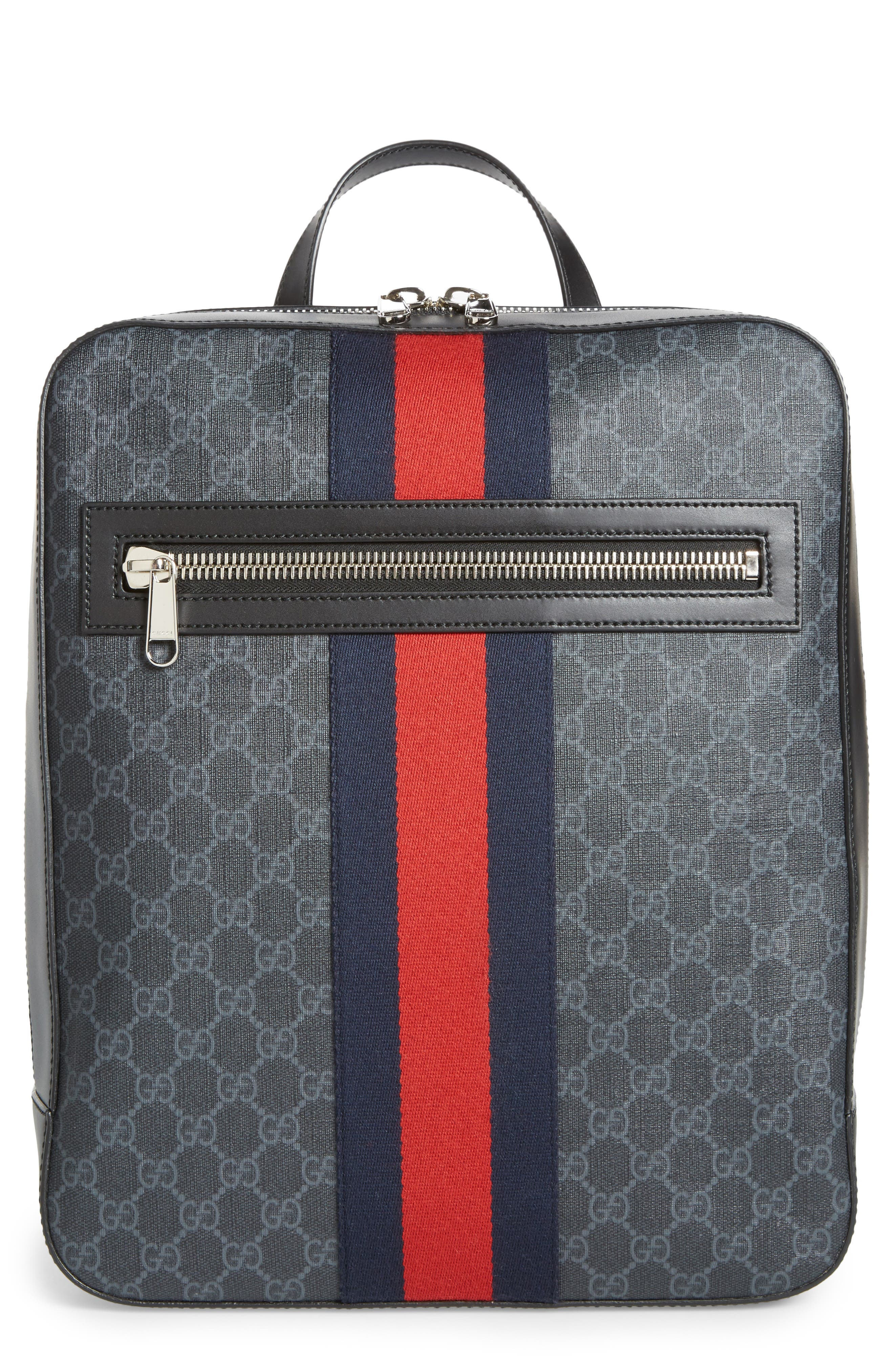 Gucci GG Leather Trim Backpack