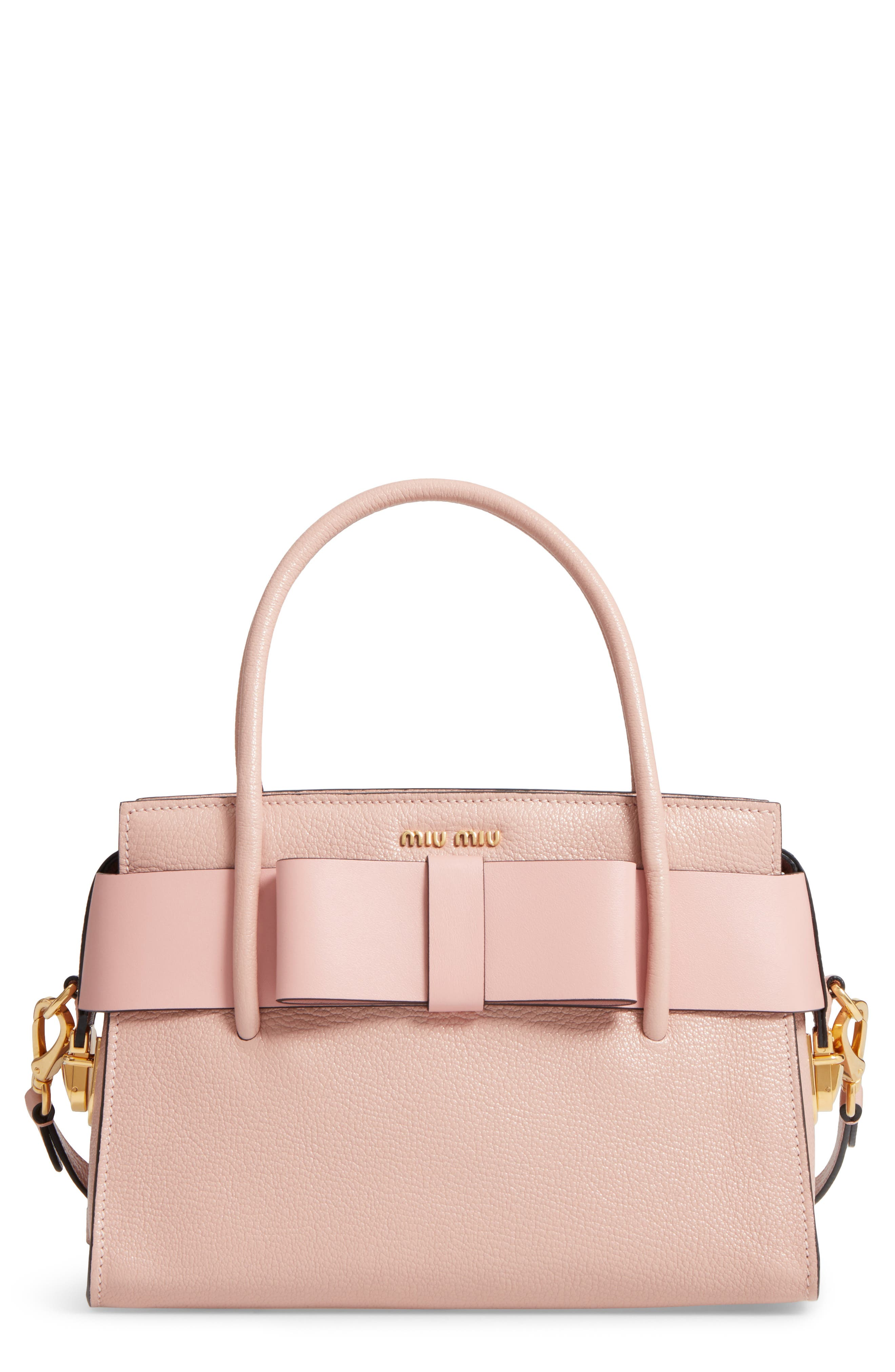 Madras Ficco Leather Satchel,                         Main,                         color, Pink