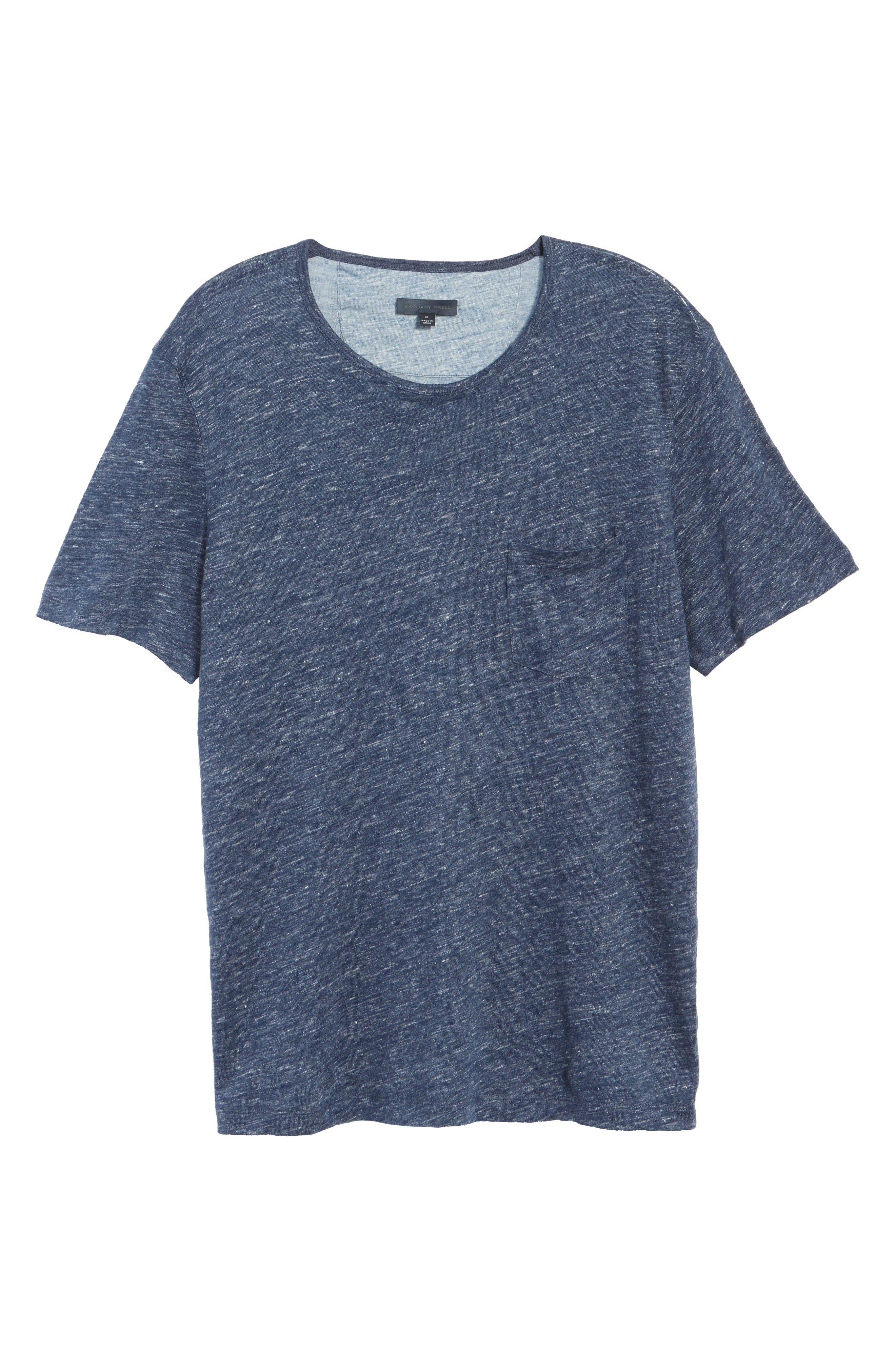 Monad Colorblock Linen T-Shirt,                             Alternate thumbnail 7, color,                             Blue Mountain