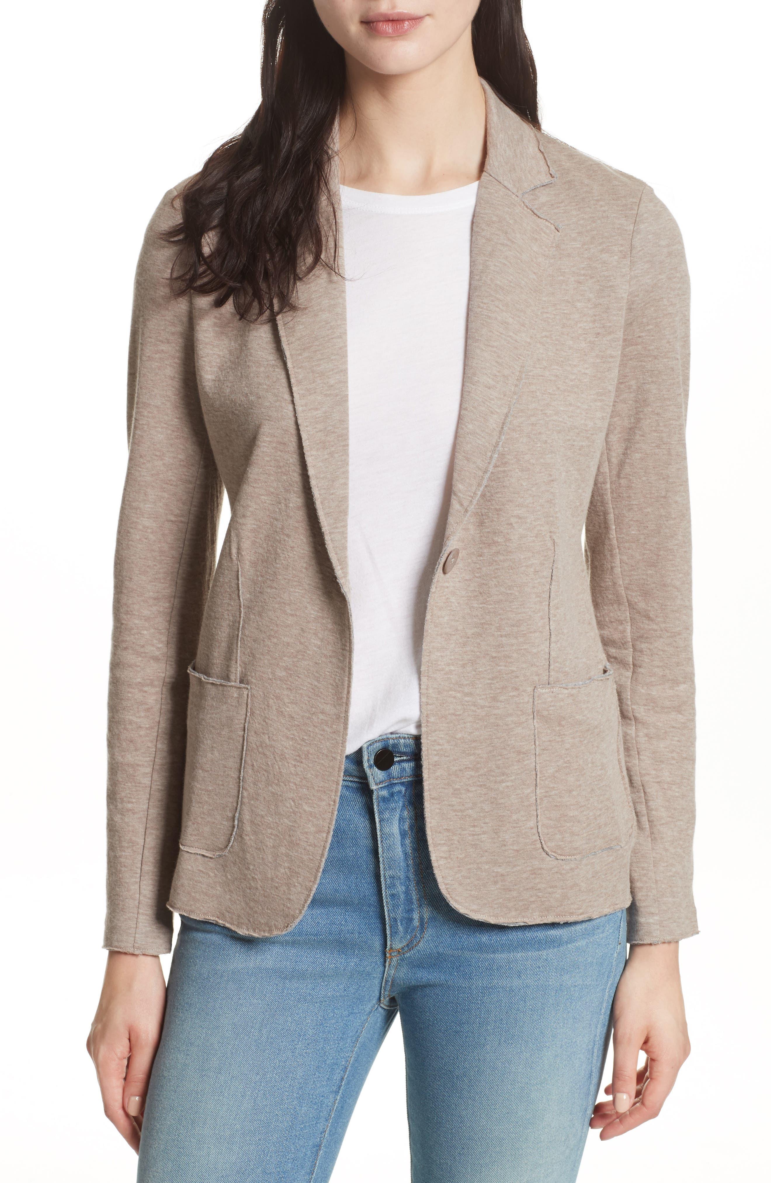 One-Button Cotton & Cashmere Blazer,                             Main thumbnail 1, color,                             Beige/ Grey