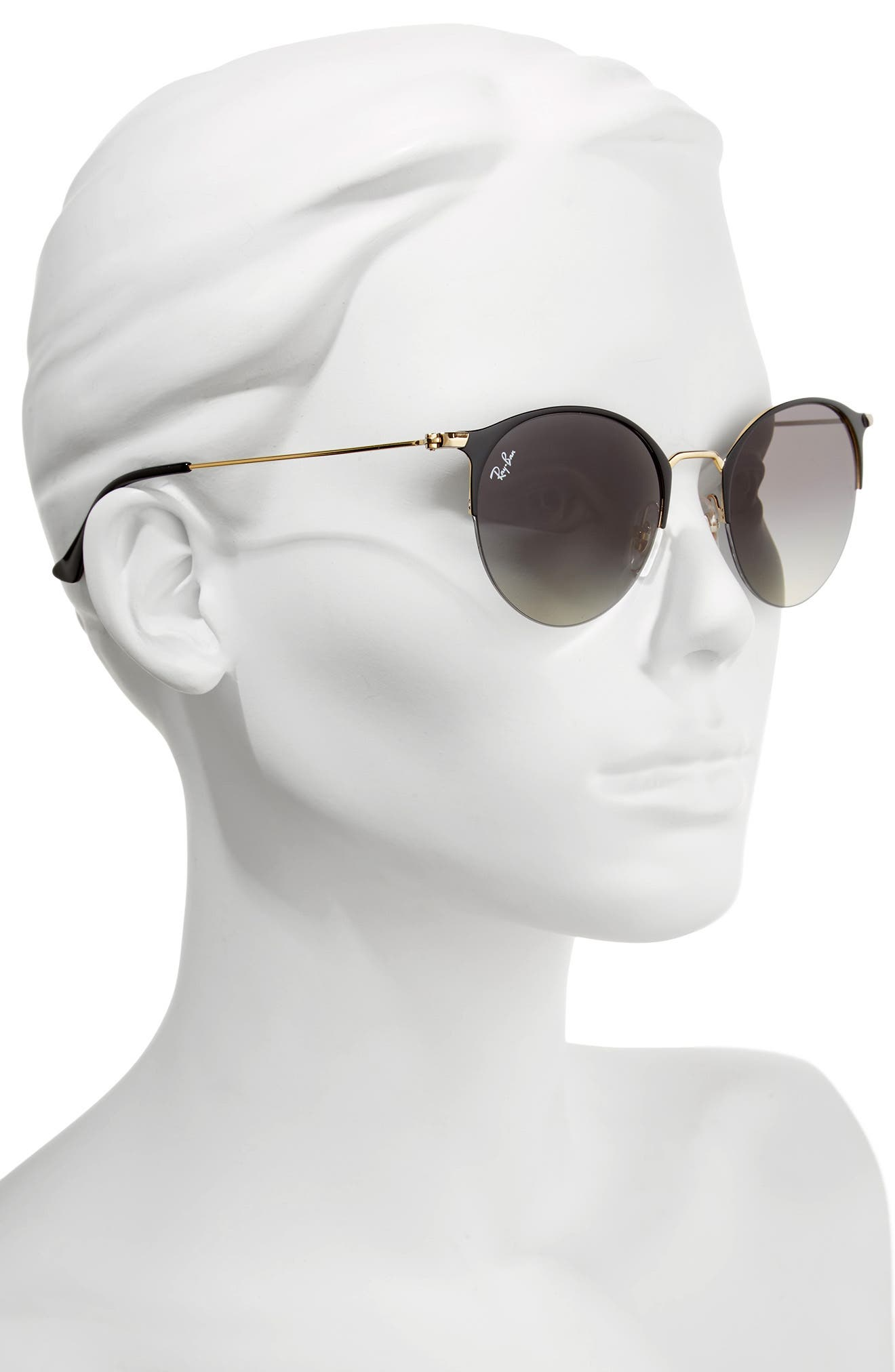 50mm Round Clubmaster Sunglasses,                             Alternate thumbnail 2, color,                             Gold/ Black
