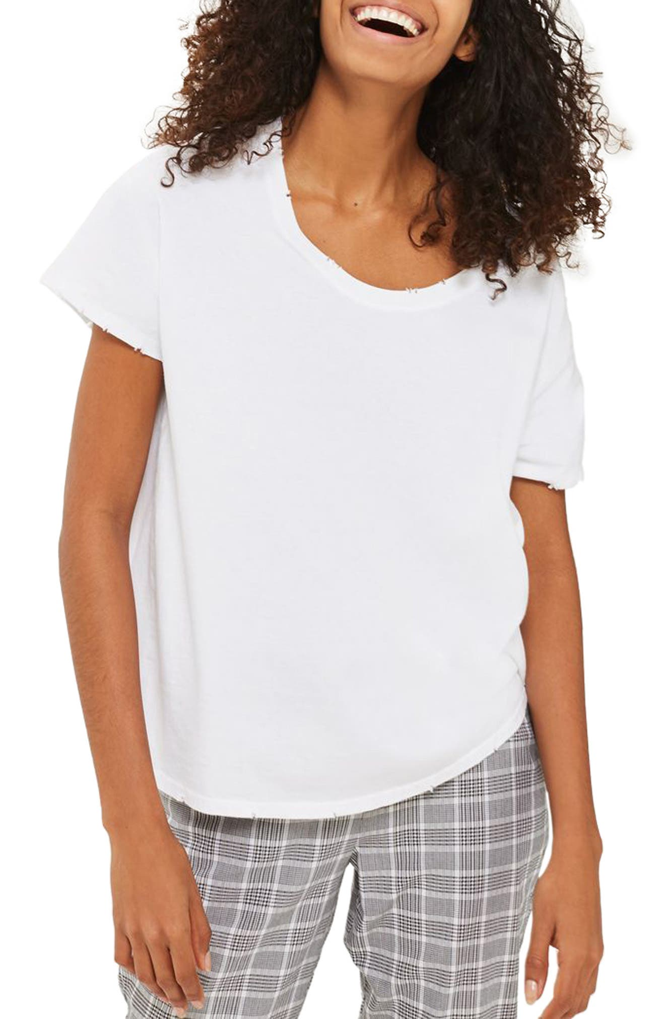 Topshop Nibbled Scoop Neck Tee