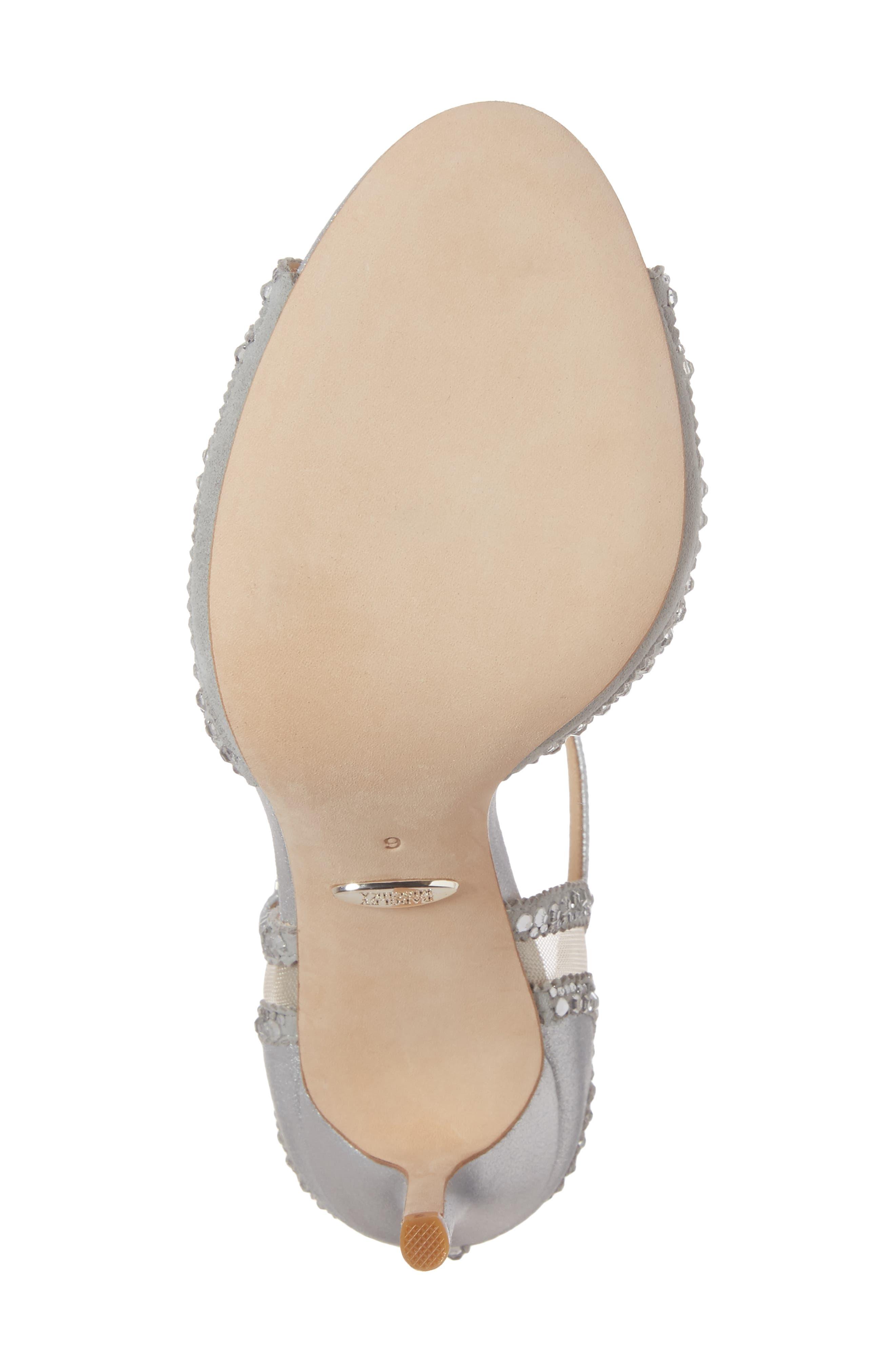 Embellished Mesh Sandal,                             Alternate thumbnail 6, color,                             Silver Metallic Suede