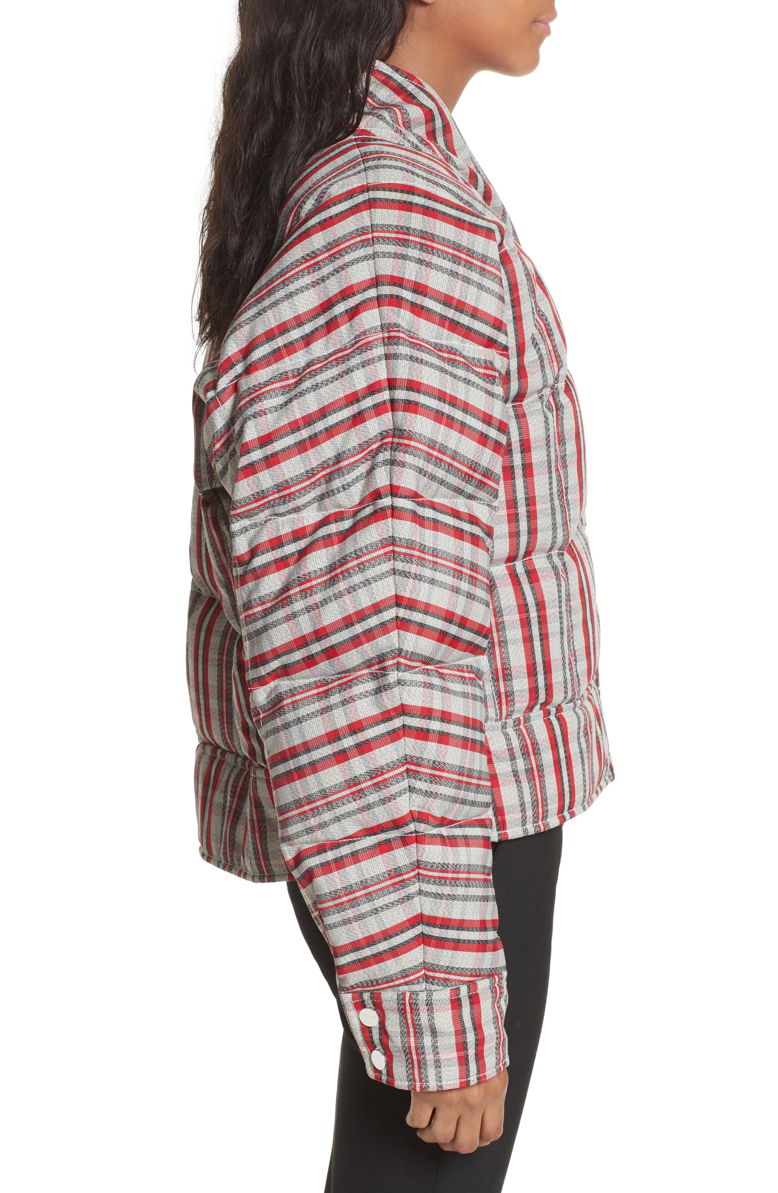 Plaid Snap Front Down Bomber,                             Alternate thumbnail 3, color,                             White/ Bright Red/ Black