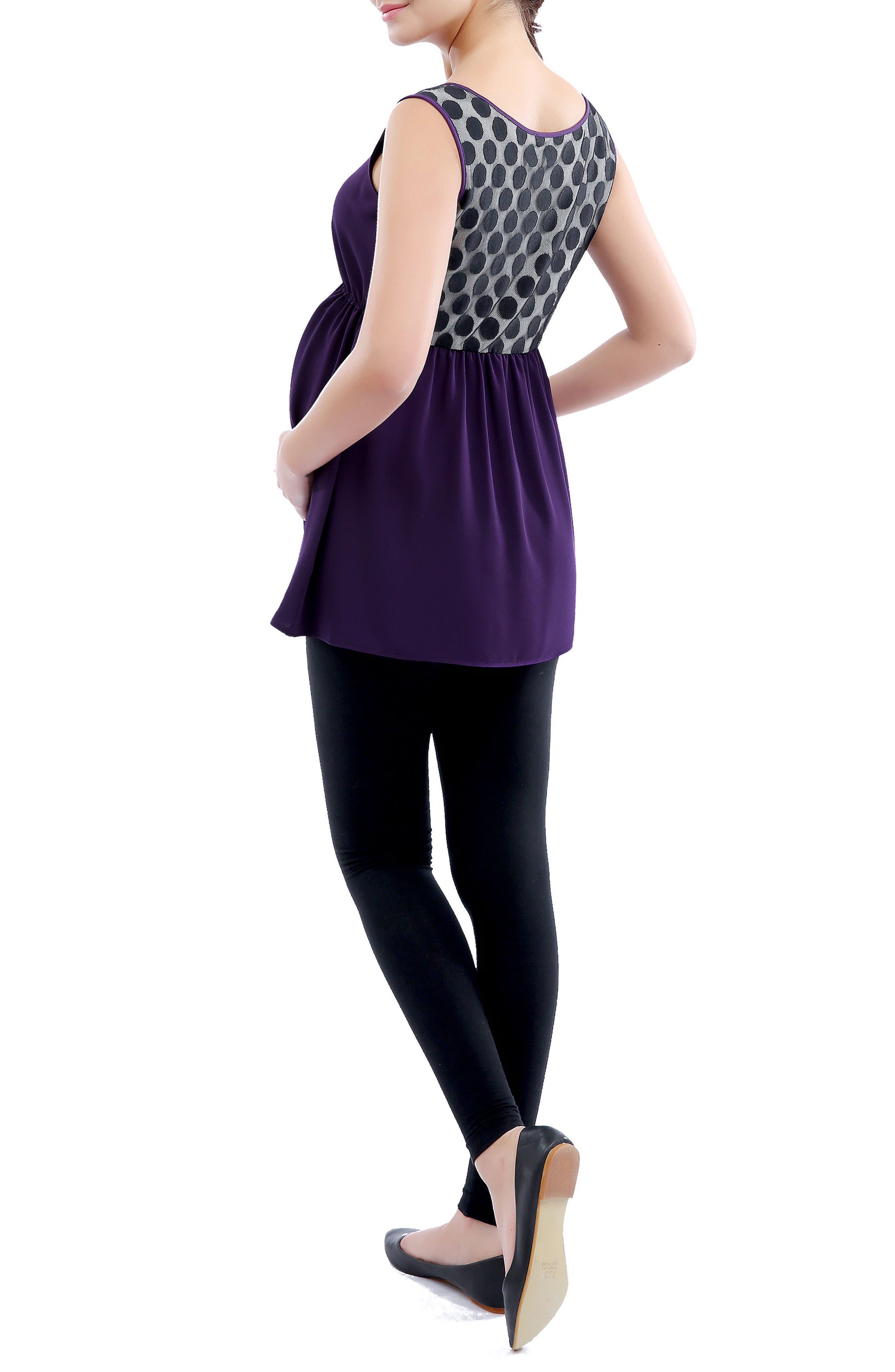 Alternate Image 3  - Kimi and Kai 'Amber' Polka Dot Lace Back Maternity Top
