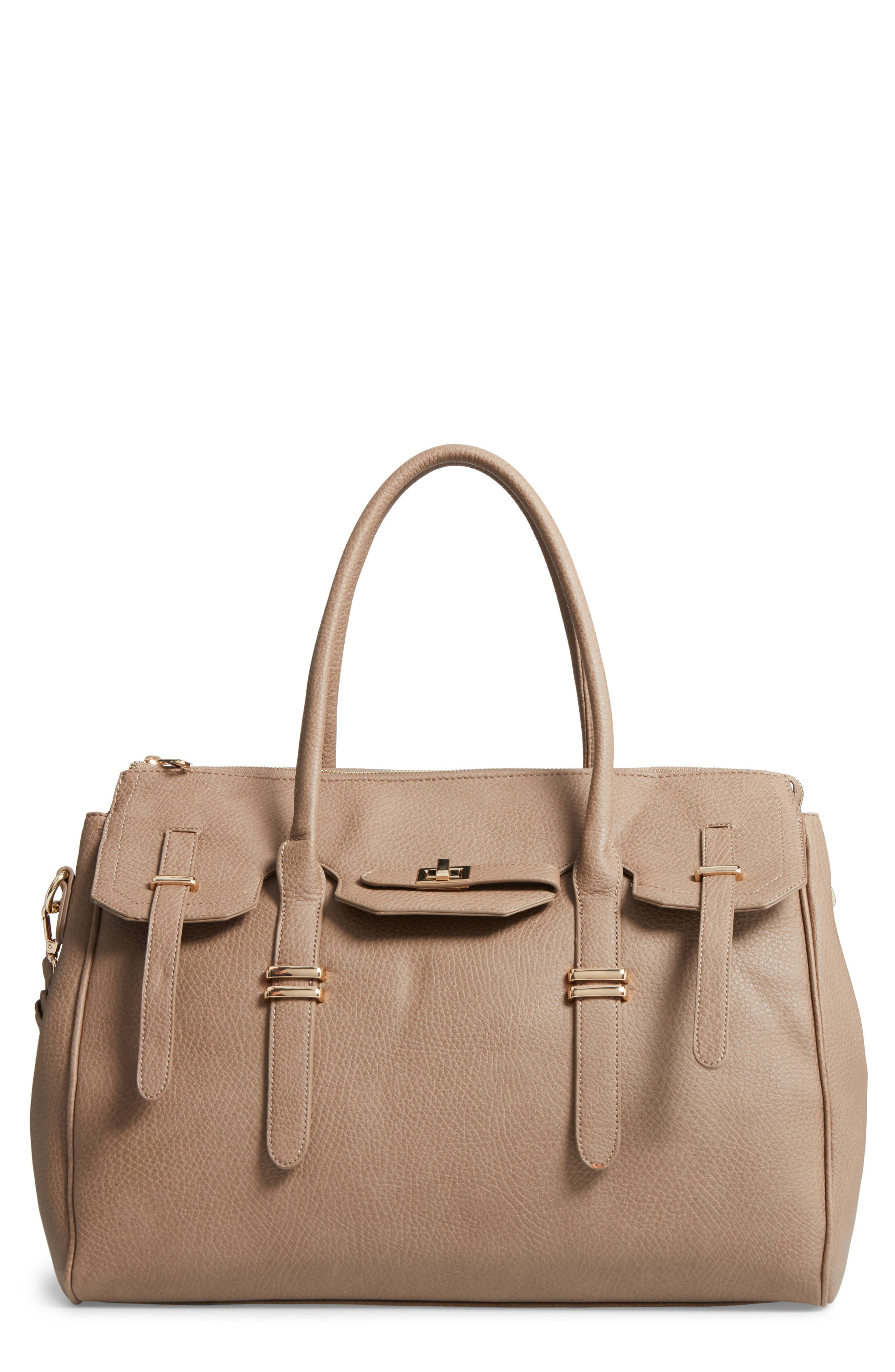 Main Image - Sole Society Faux Leather Weekend Satchel