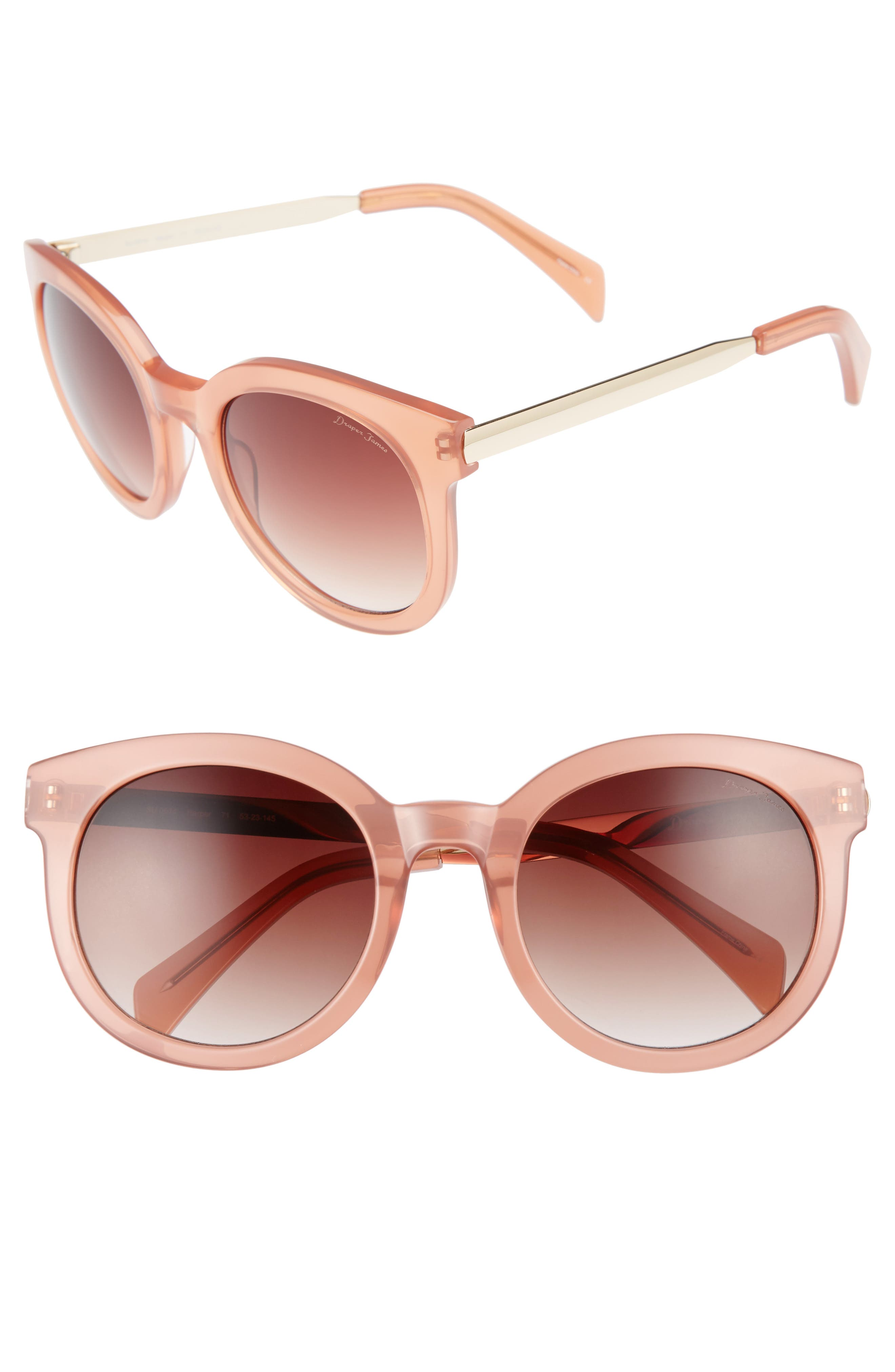 53mm Gradient Lens Round Sunglasses,                         Main,                         color, Pink