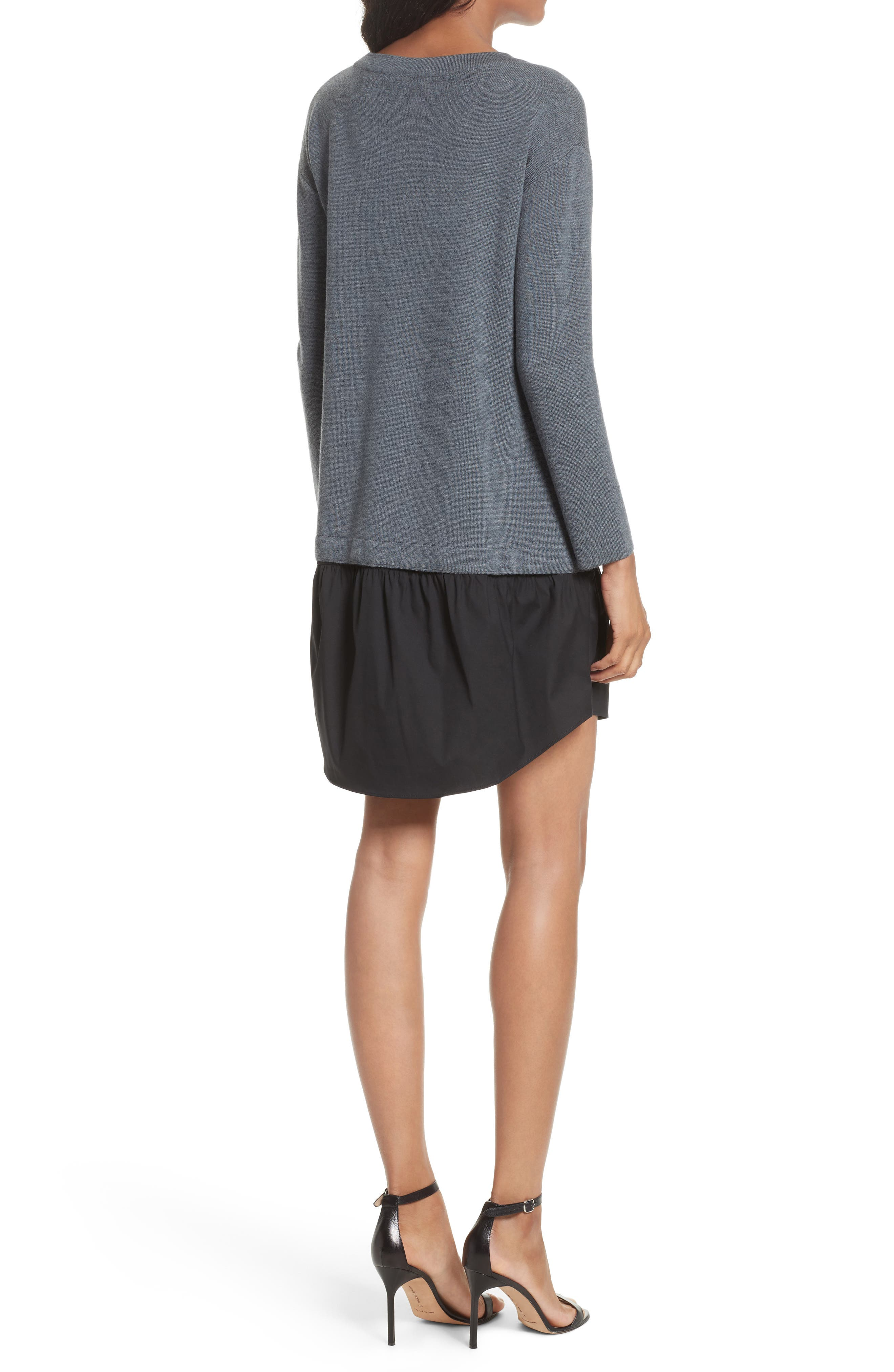 2-in-1 Sweater Dress,                             Alternate thumbnail 2, color,                             Heather Grey