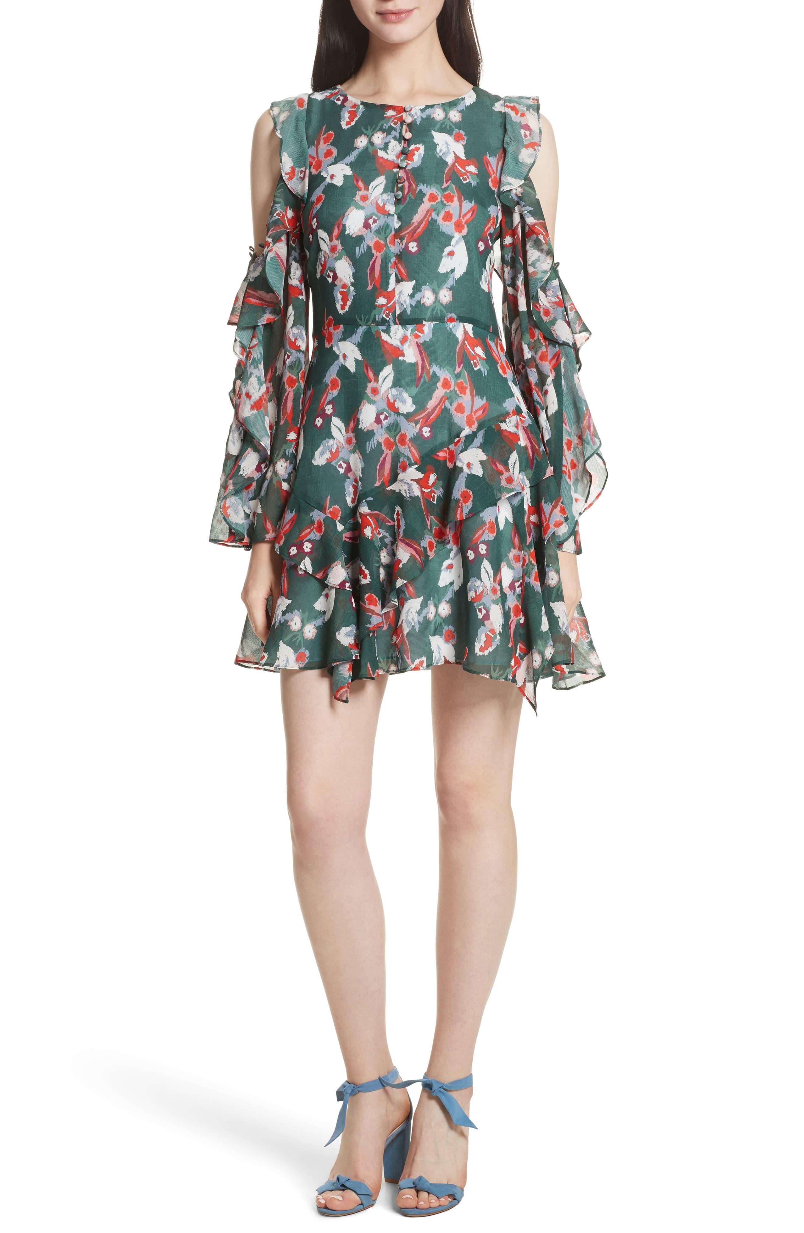 Tanya Taylor Laine Floral Ikat Print Silk Cold Shoulder Dress