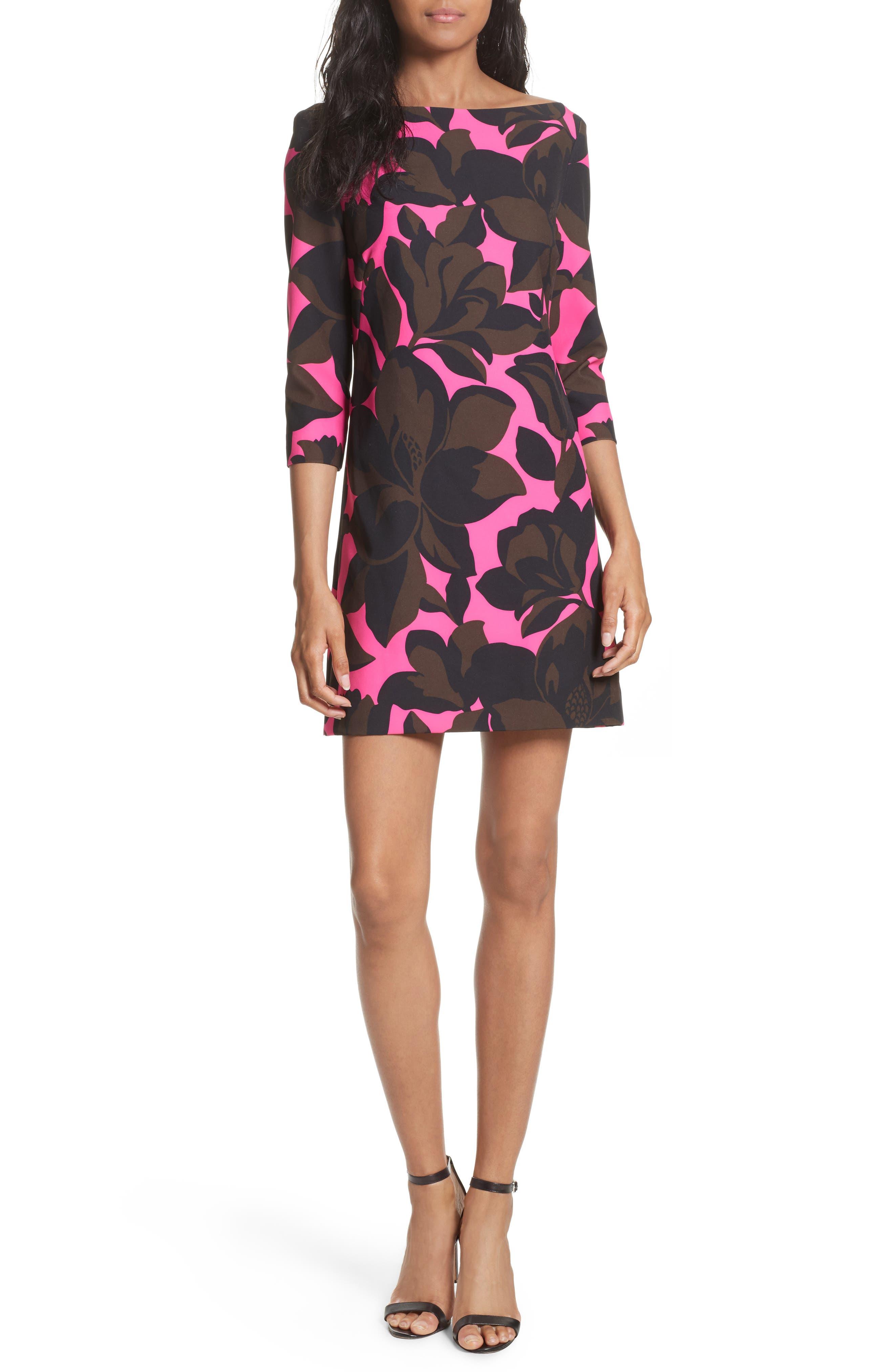 Floral Print Minidress,                         Main,                         color, Pink