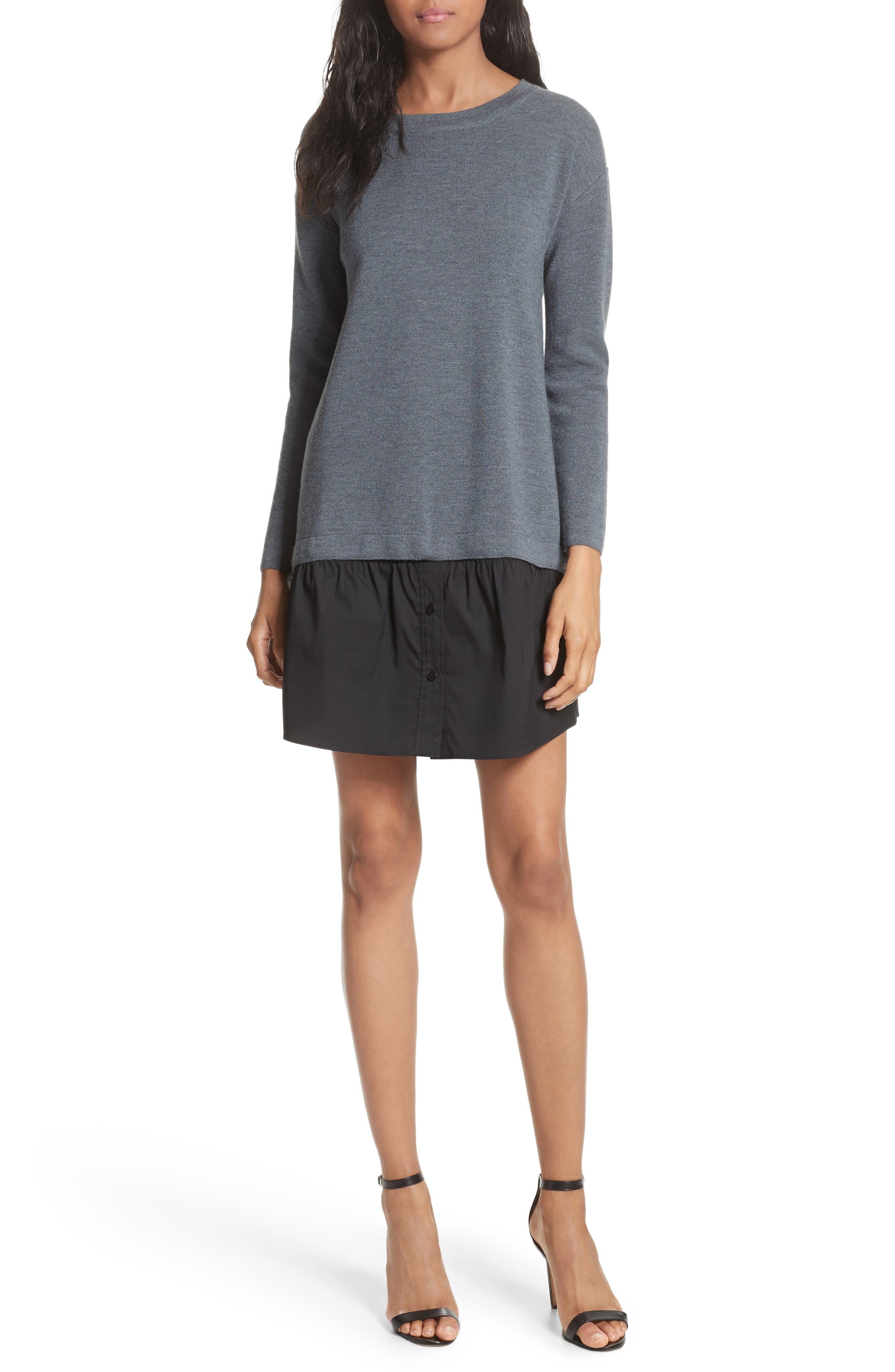 2-in-1 Sweater Dress,                             Main thumbnail 1, color,                             Heather Grey