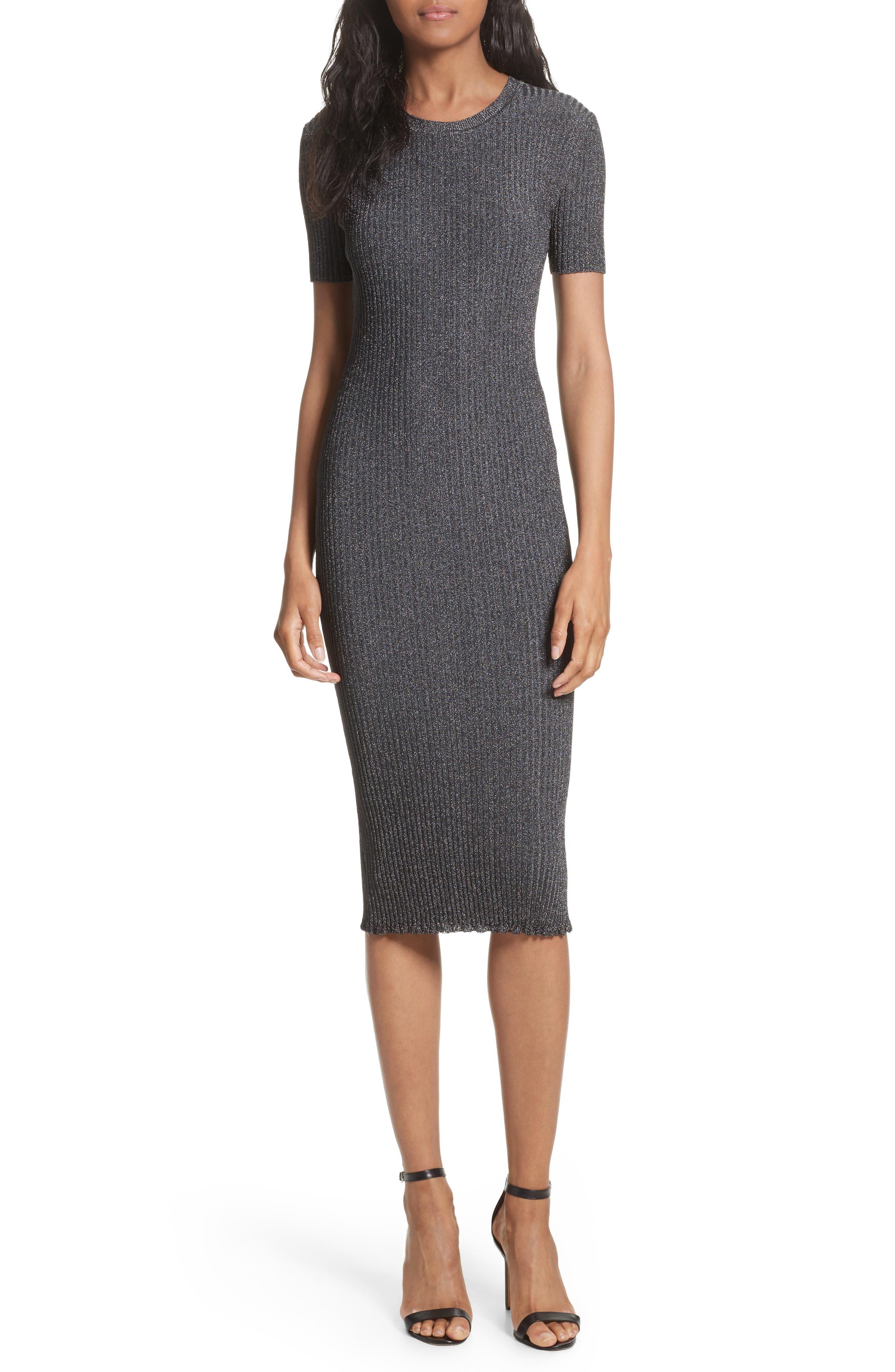 Stardust Rib Knit Sheath Dress,                         Main,                         color, Gunmetal