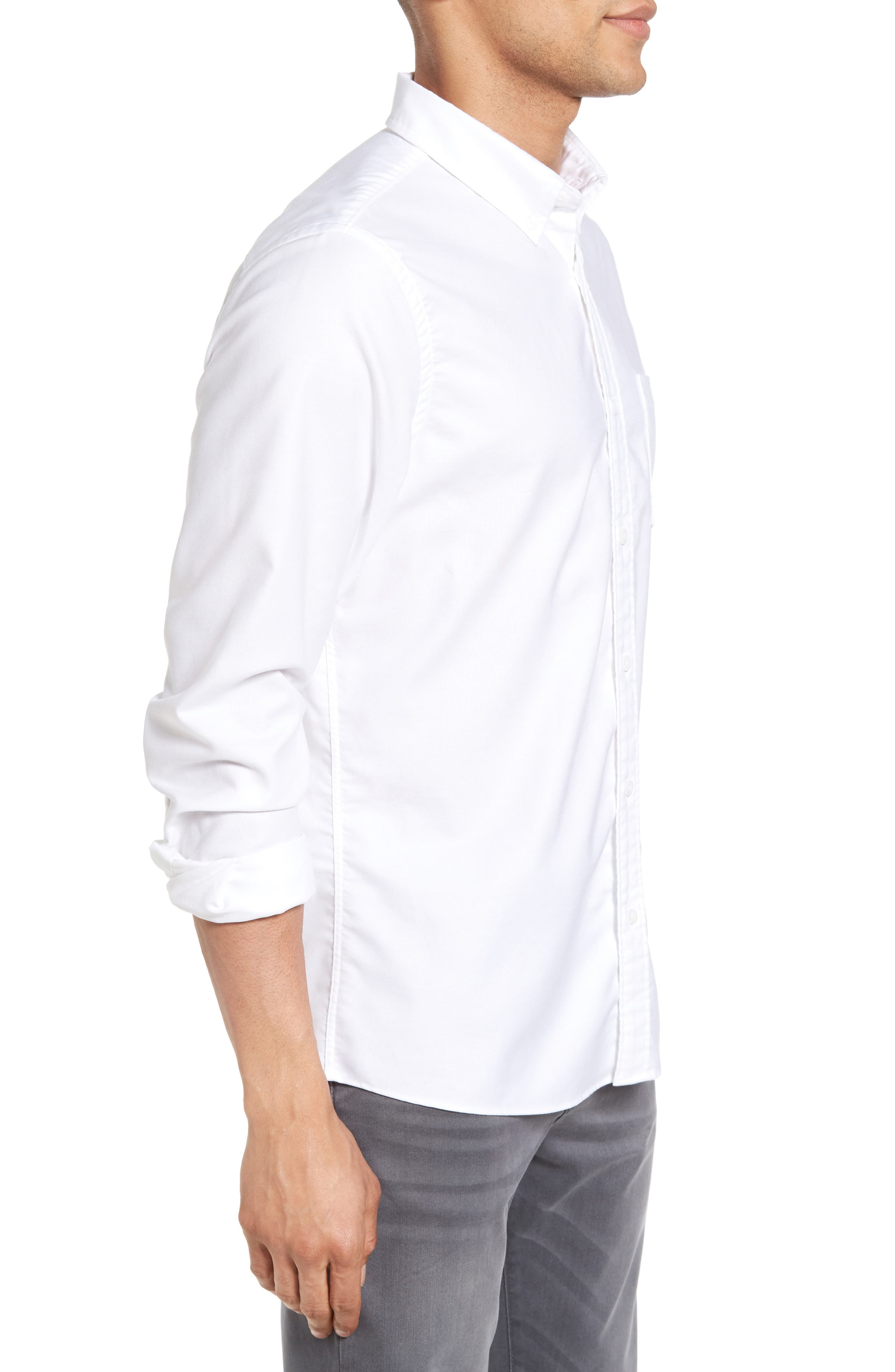 Trim Fit Washed Oxford Shirt,                             Alternate thumbnail 4, color,                             White Oxford