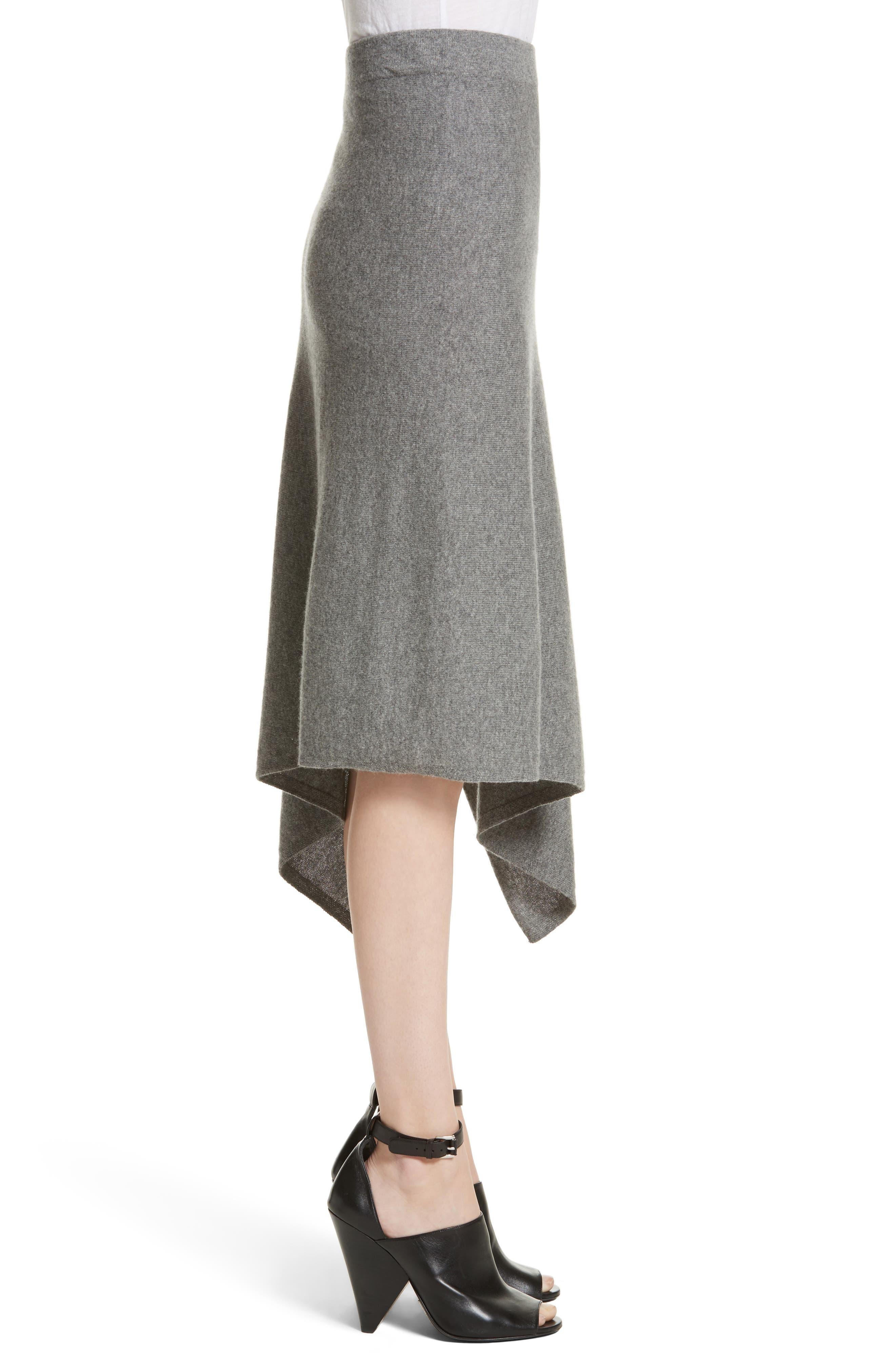 Cashmere Handkerchief Hem Skirt,                             Alternate thumbnail 4, color,                             Banker Mlange