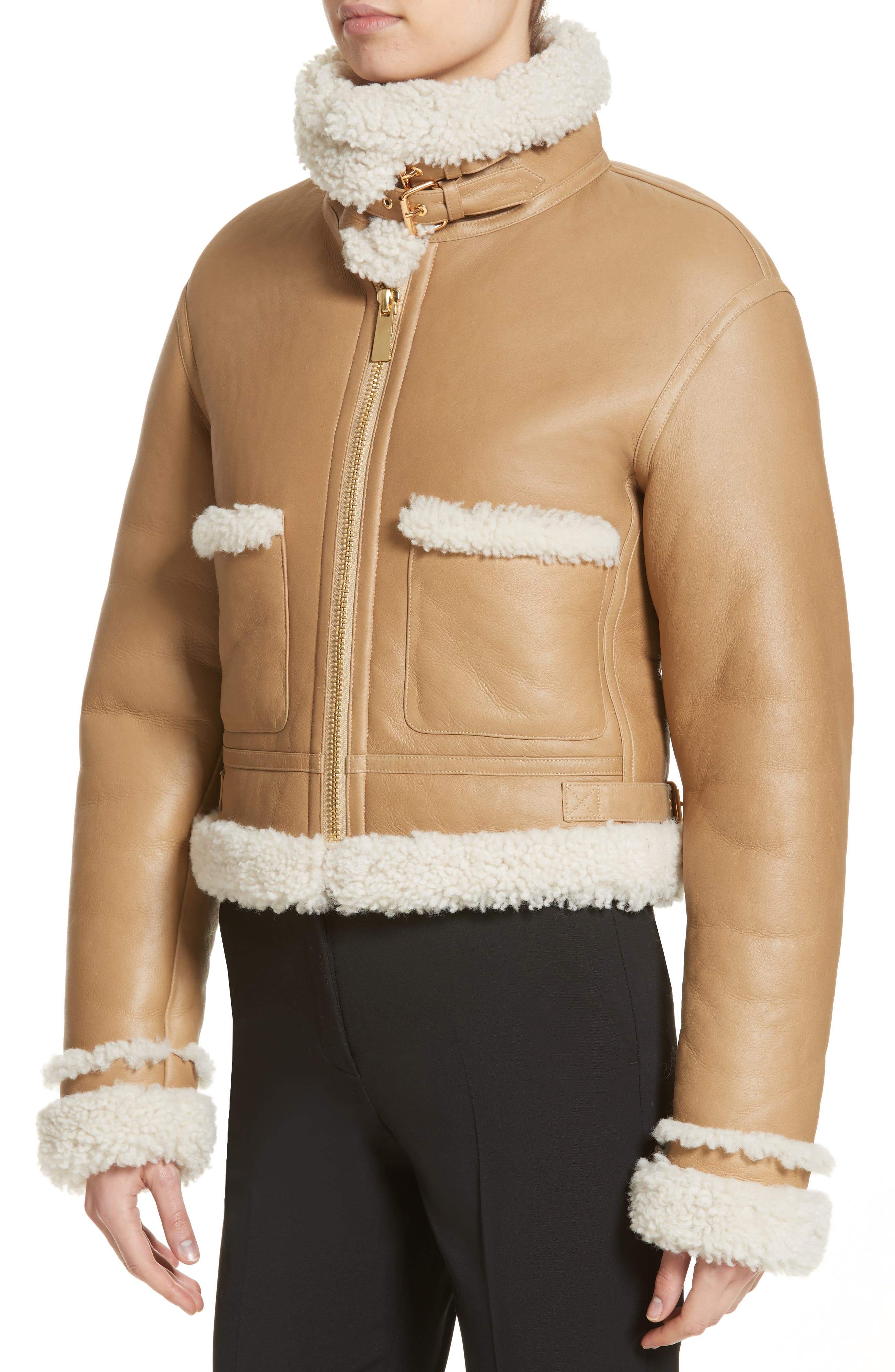 Alternate Image 4  - Michael Kors Genuine Shearling Moto Jacket