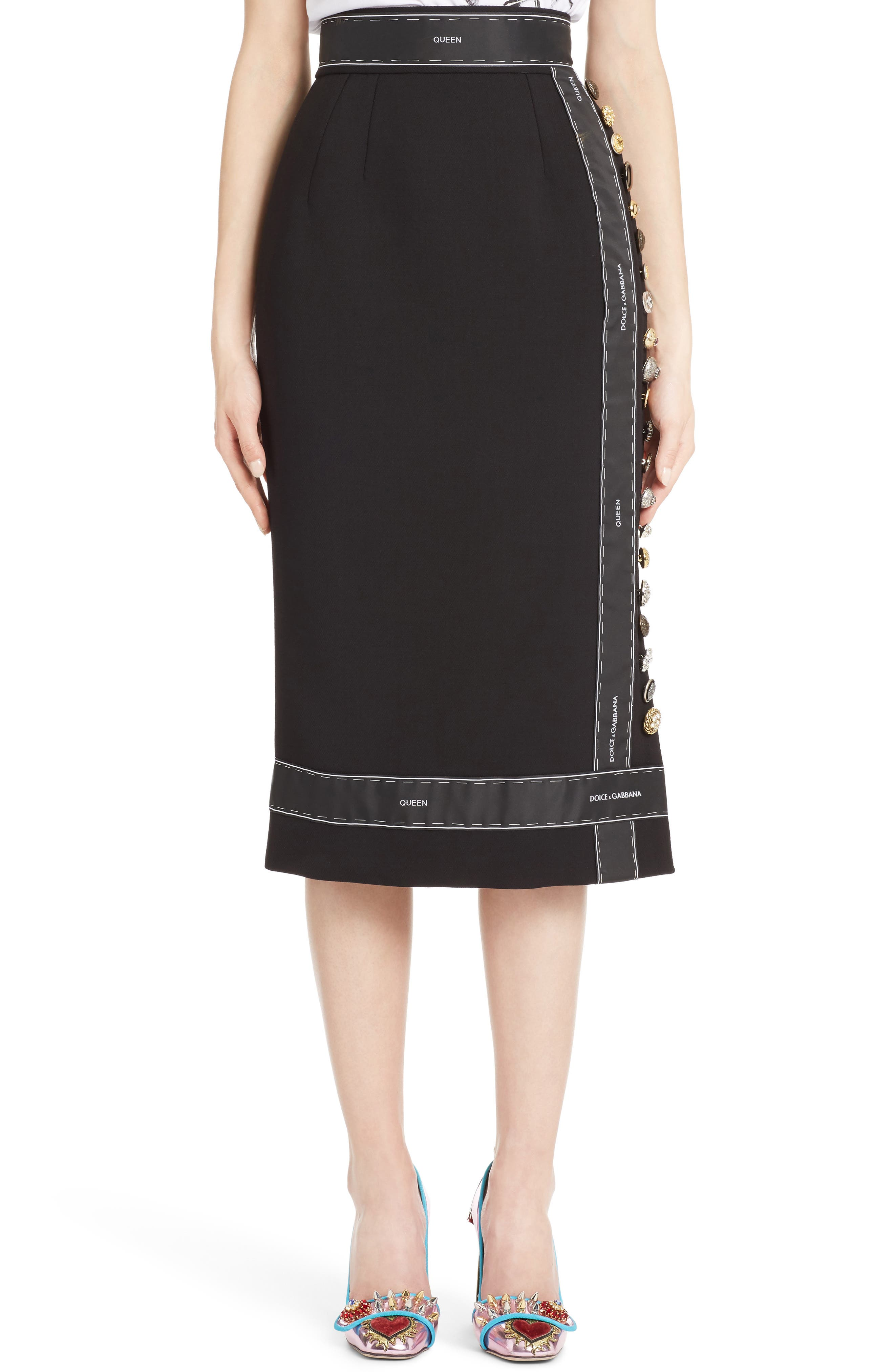 Alternate Image 1 Selected - Dolce&Gabbana Ribbon Trim Pencil Skirt