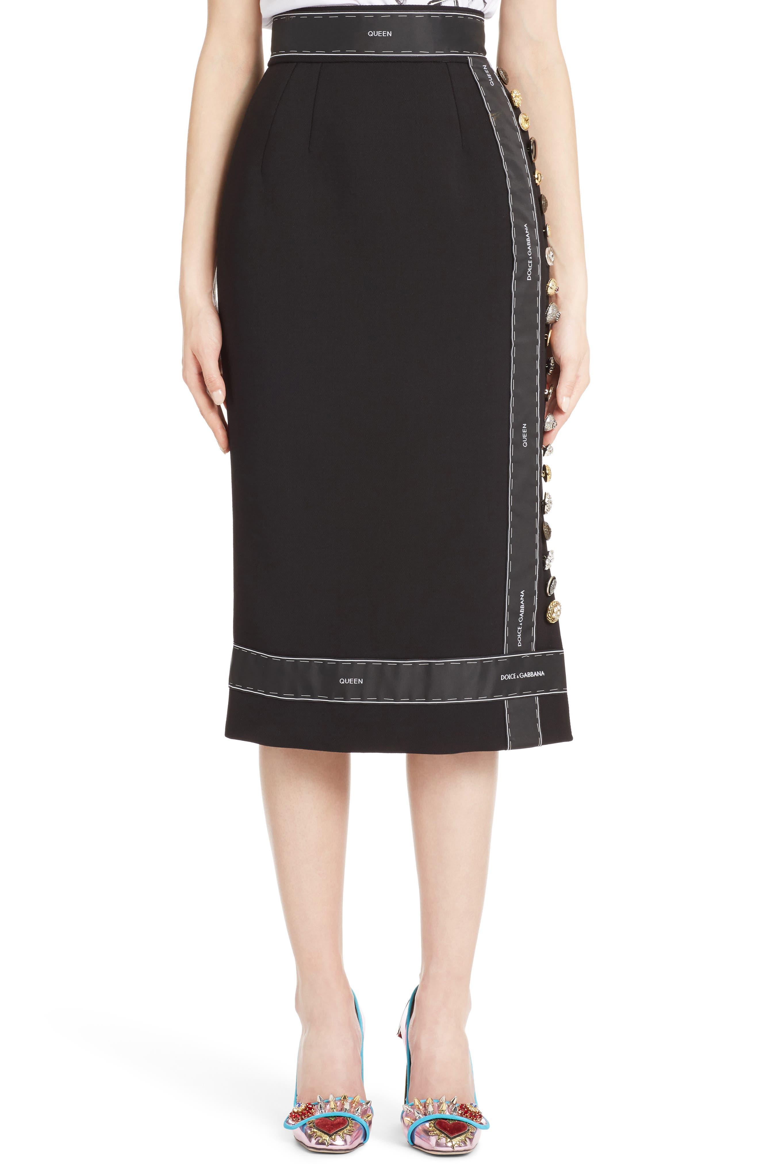 Ribbon Trim Pencil Skirt,                         Main,                         color, Nero