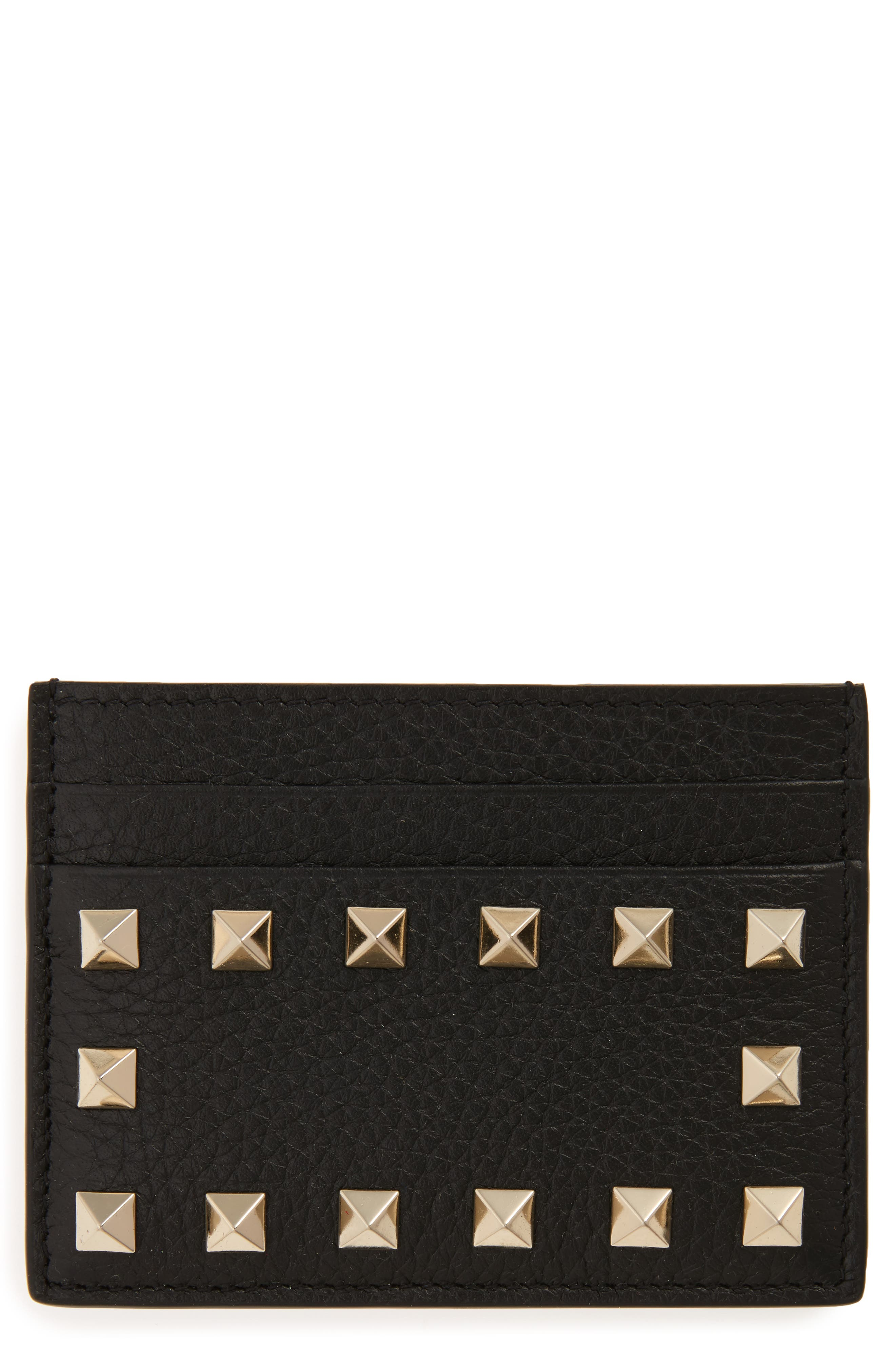 Rockstud Leather Card Holder,                             Main thumbnail 1, color,                             Nero