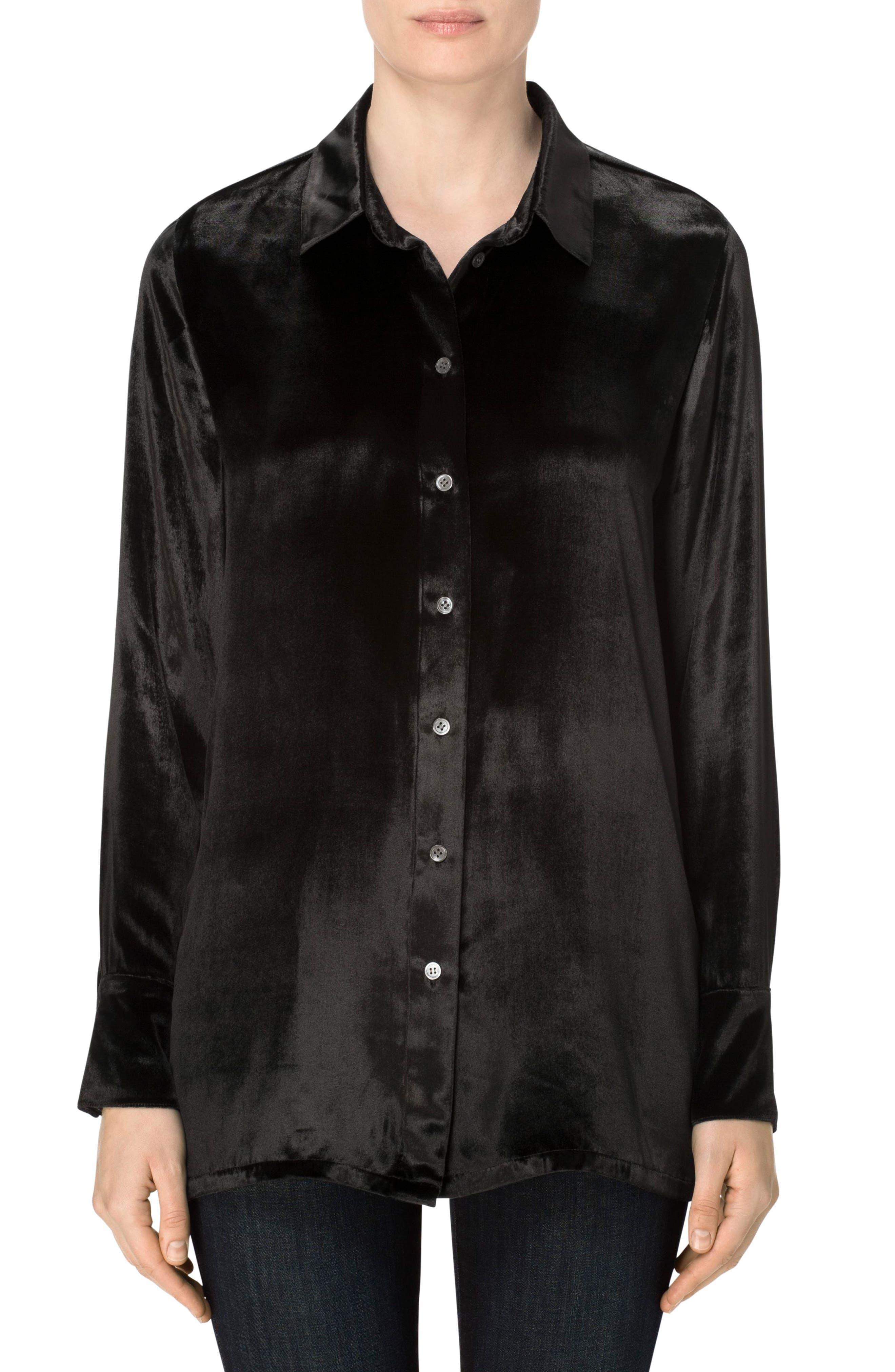 Nora Velvet Shirt,                         Main,                         color, Black