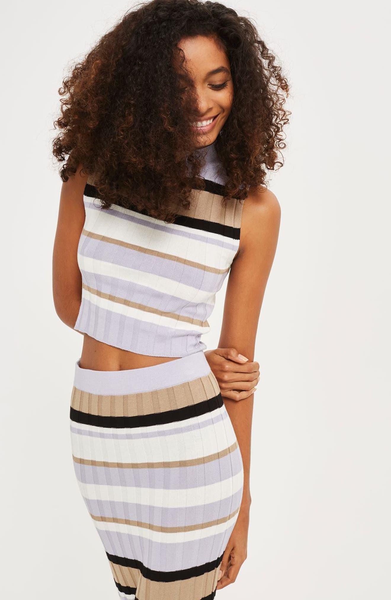TOPSHOP Crop Stripe Sweater Tank