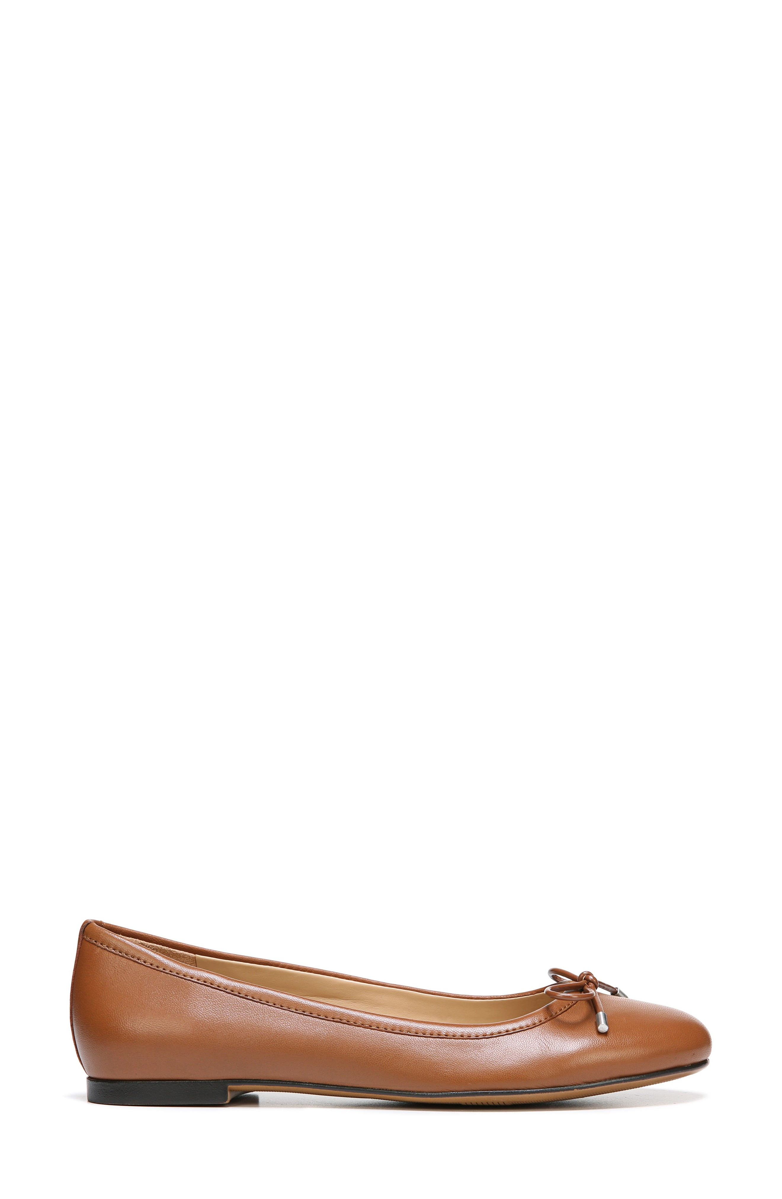 Grace Flat,                             Alternate thumbnail 3, color,                             Saddle Tan Leather