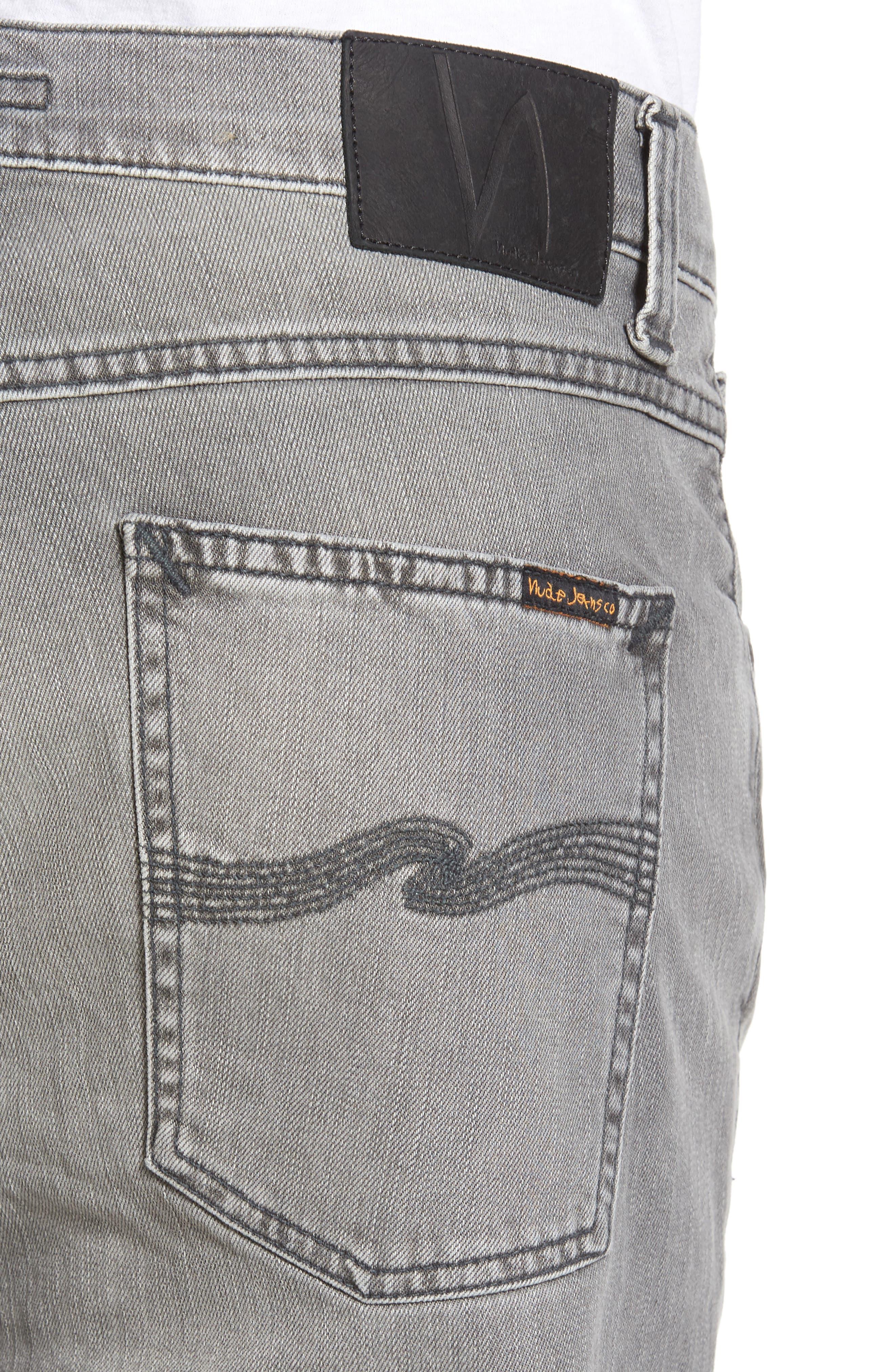 Alternate Image 4  - Nudie Jeans Lean Dean Slouchy Skinny Fit Jeans (Grey Ace)