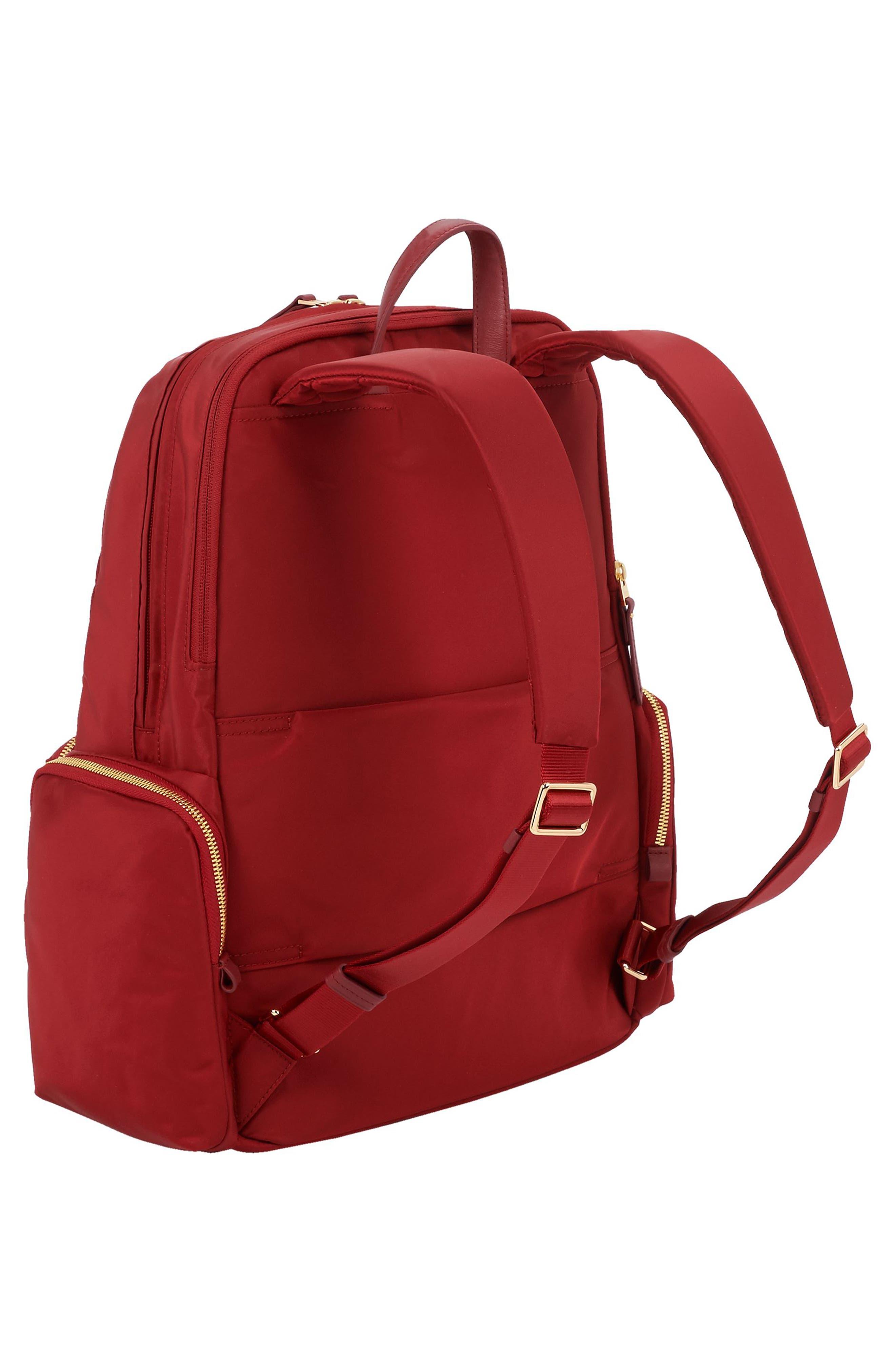 Calais Nylon 15-Inch Computer Commuter Backpack,                             Alternate thumbnail 3, color,                             Crimson
