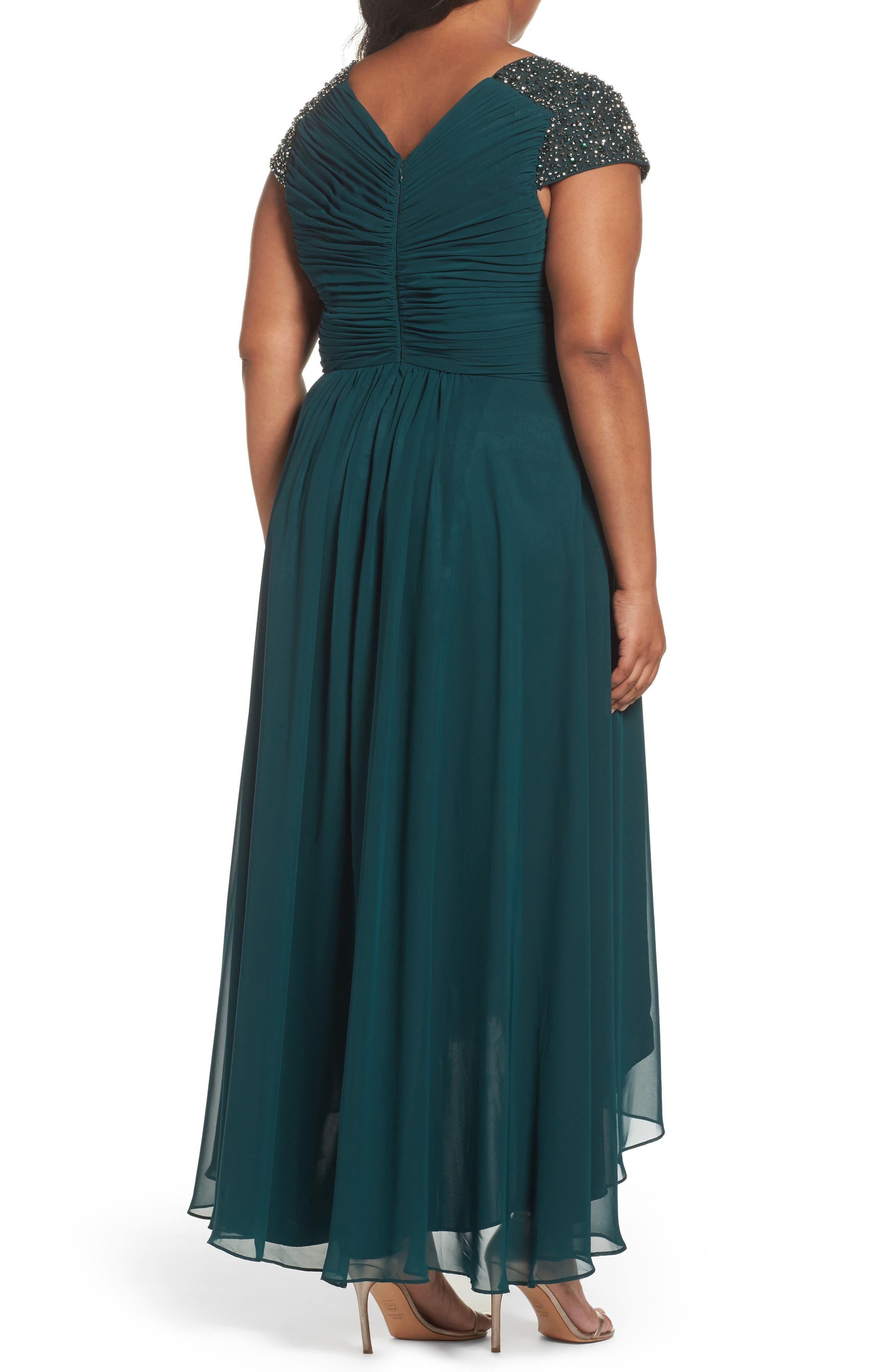Alternate Image 2  - Eliza J Embellished Pleated Chiffon Gown (Plus Size)