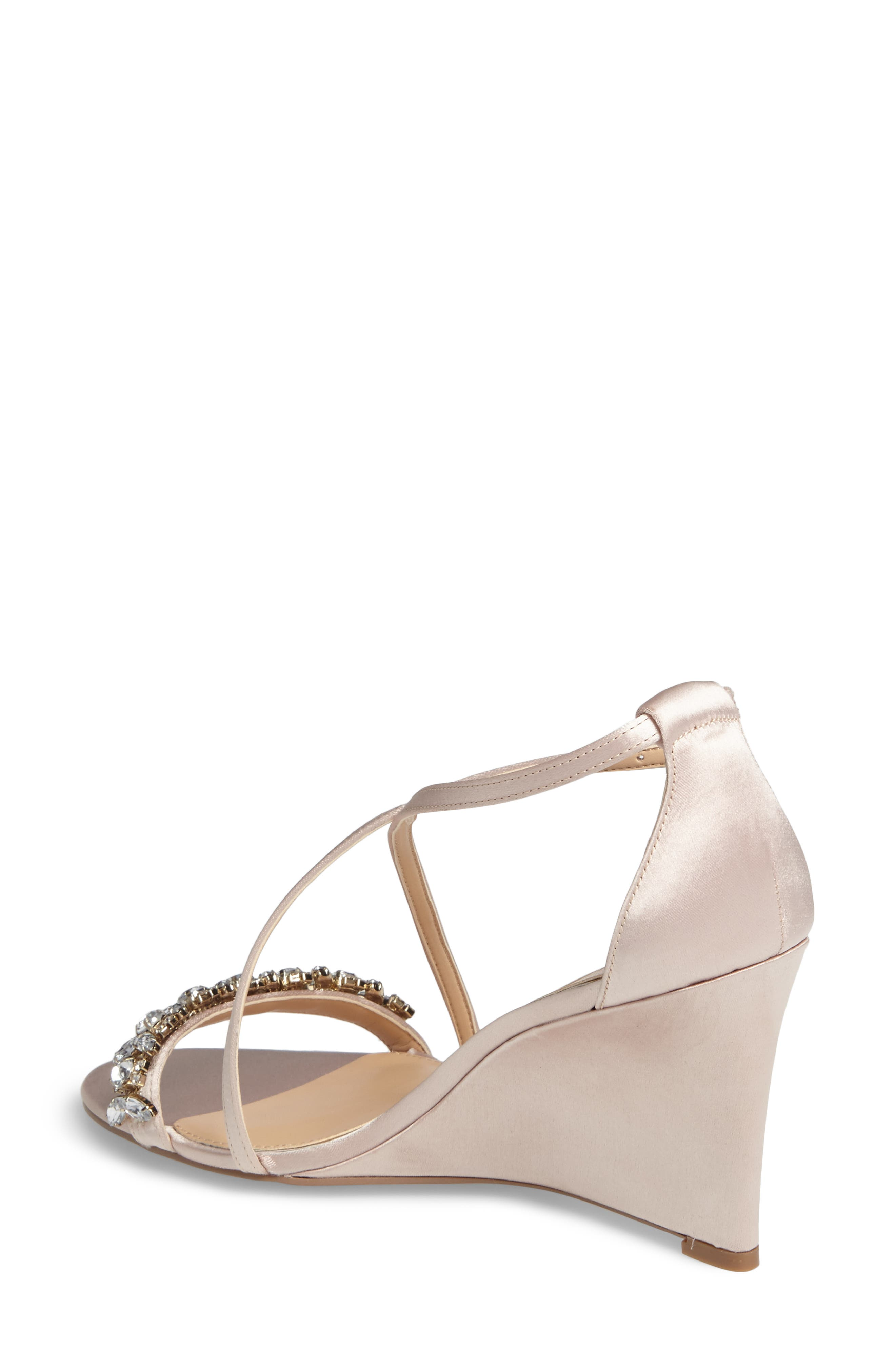 Embellished Strappy Wedge Sandal,                             Alternate thumbnail 2, color,                             Champagne Satin