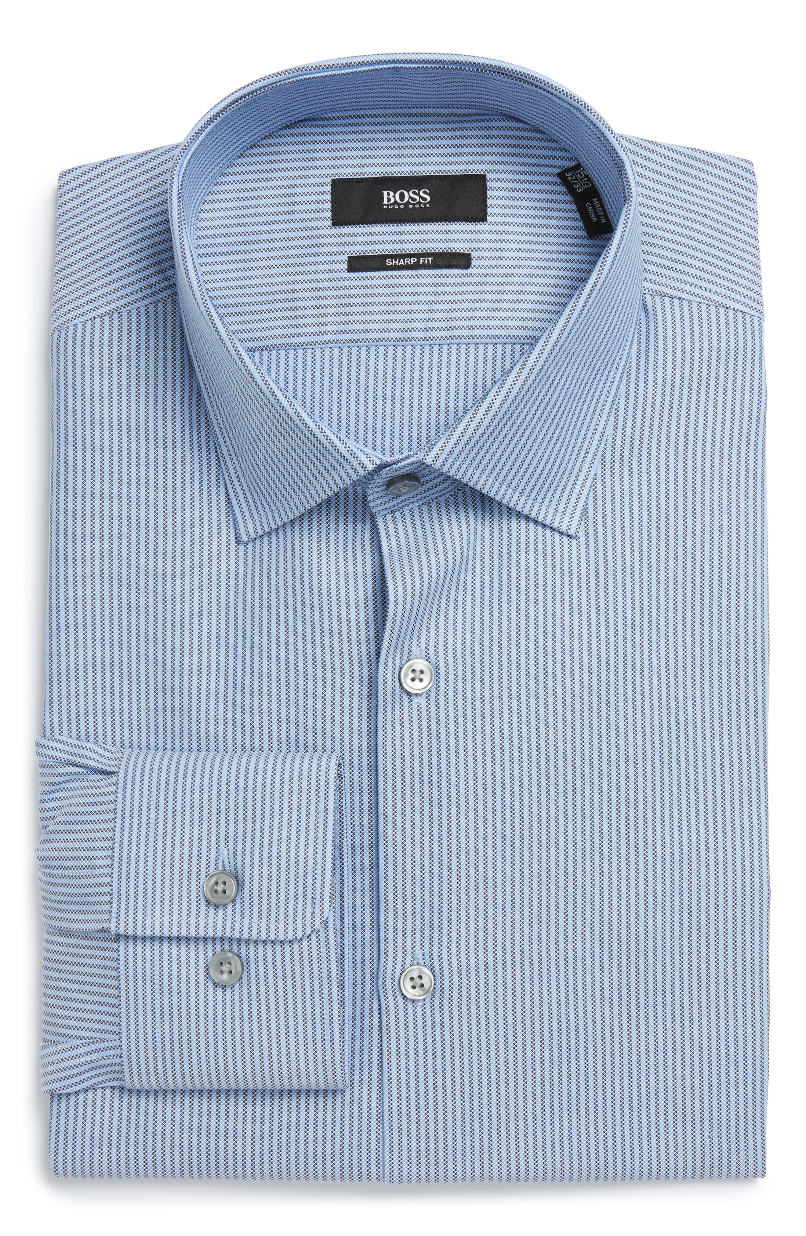 BOSS Marley US Sharp Fit Stripe Dress Shirt