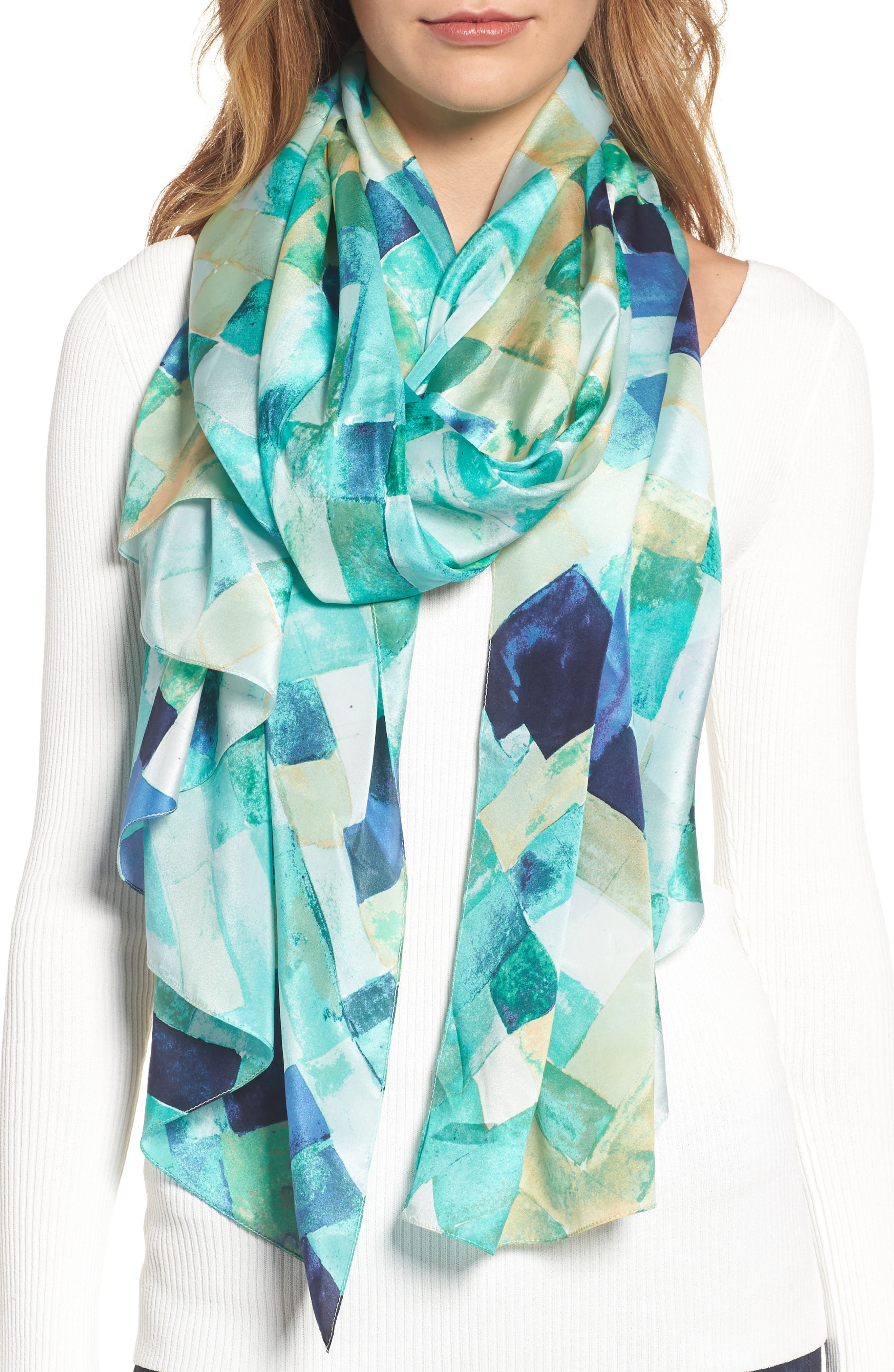 Mosaic Silk Wrap,                         Main,                         color, Teal Combo
