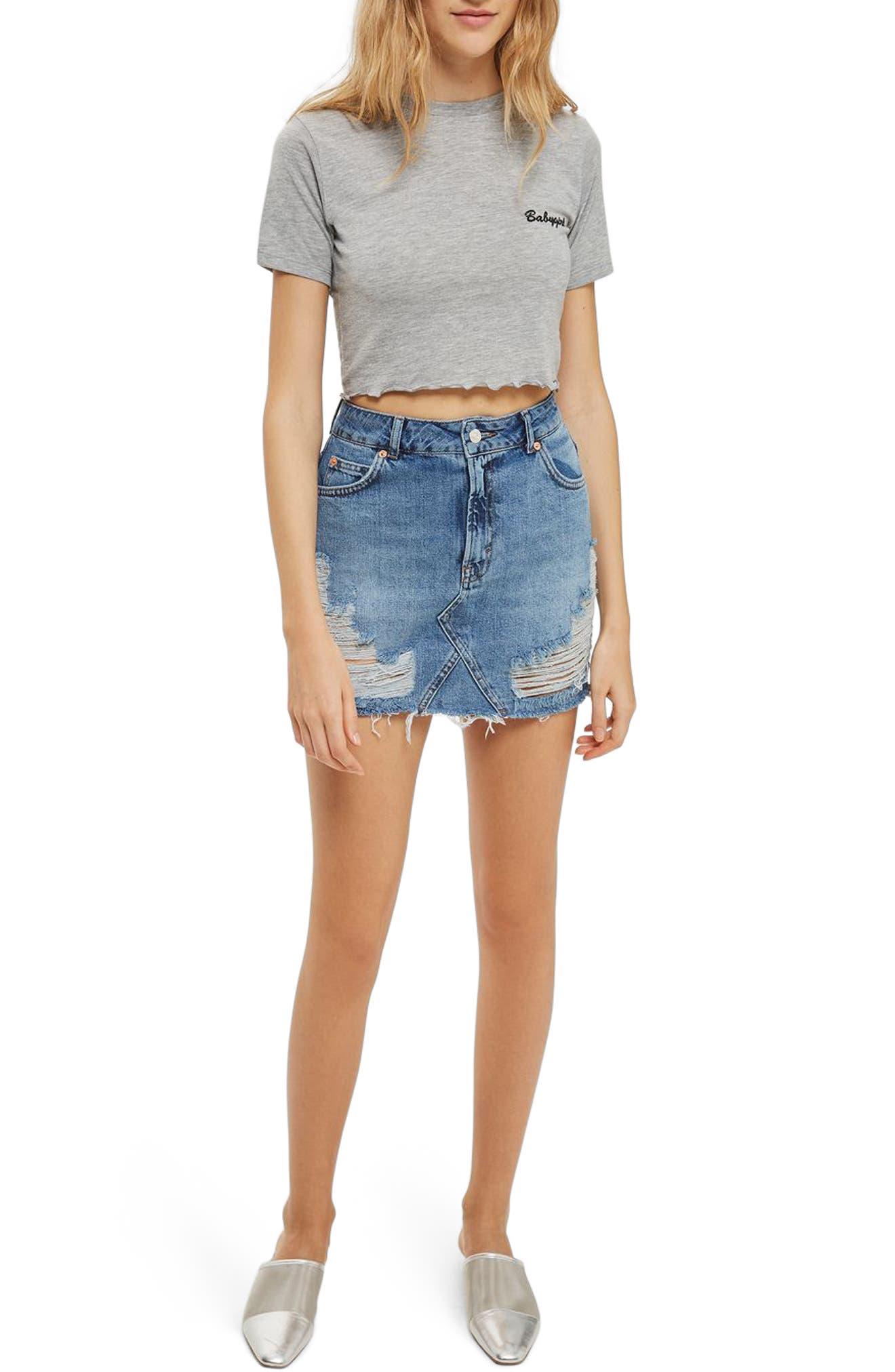 Topshop Rip Denim Miniskirt
