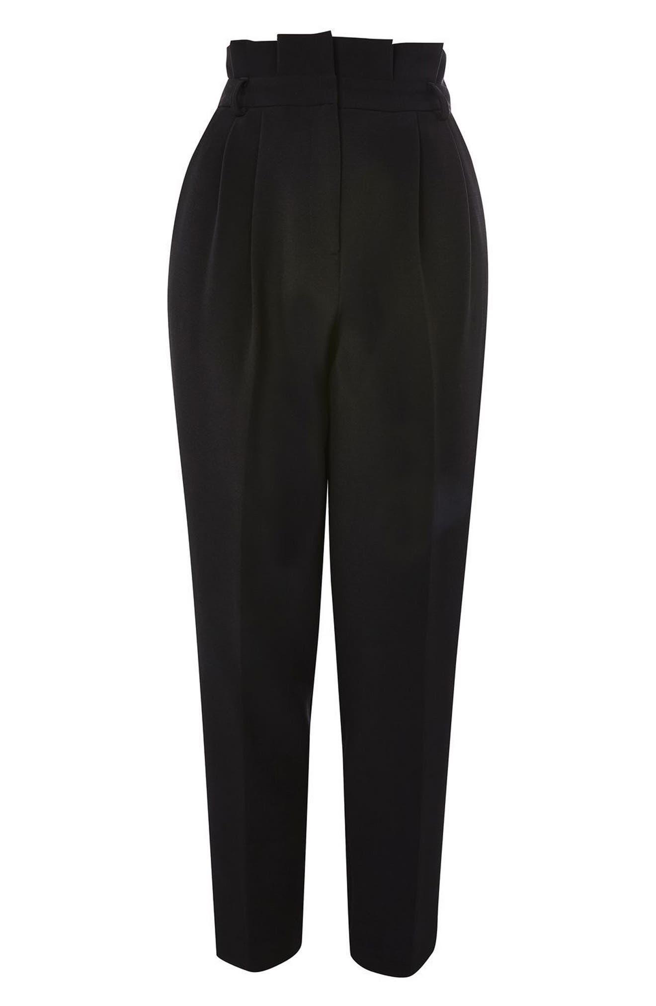 Pleated Waist Peg Trousers,                             Alternate thumbnail 4, color,                             Black
