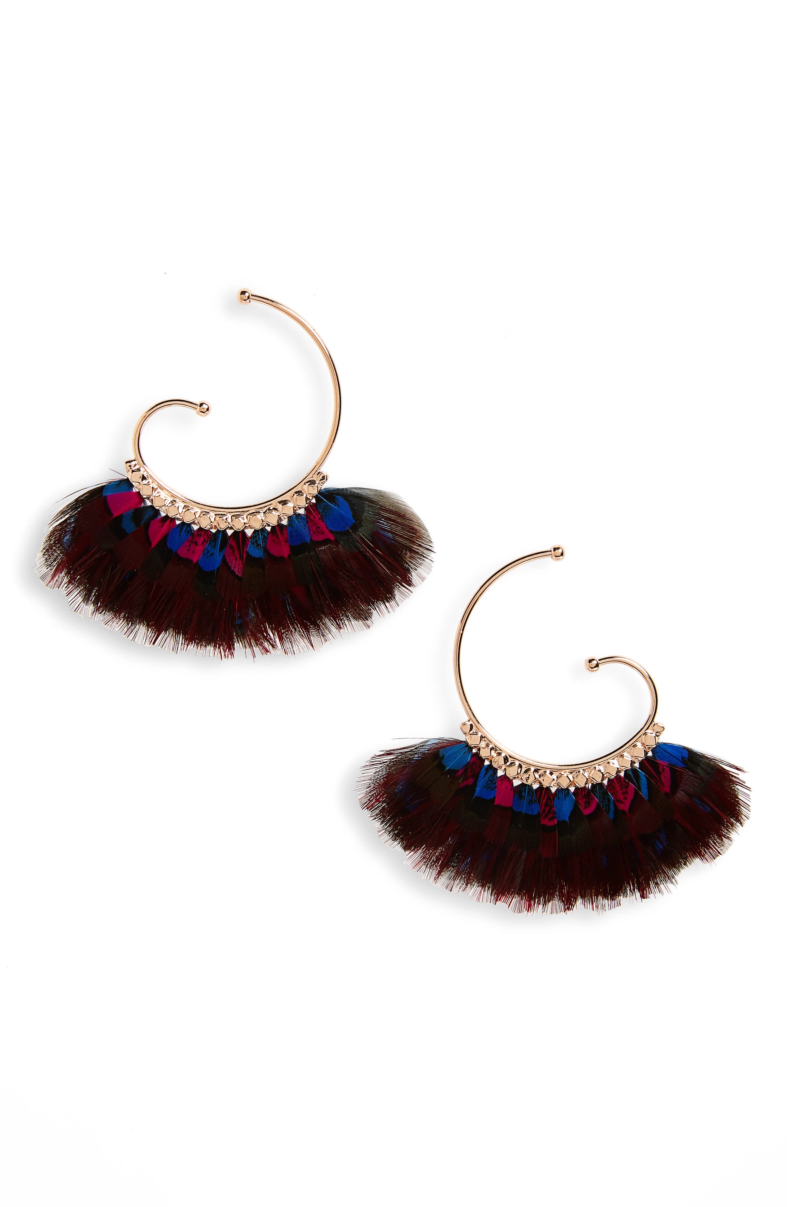 'Buzios' Feather Earrings,                             Main thumbnail 1, color,                             Red/ Blue