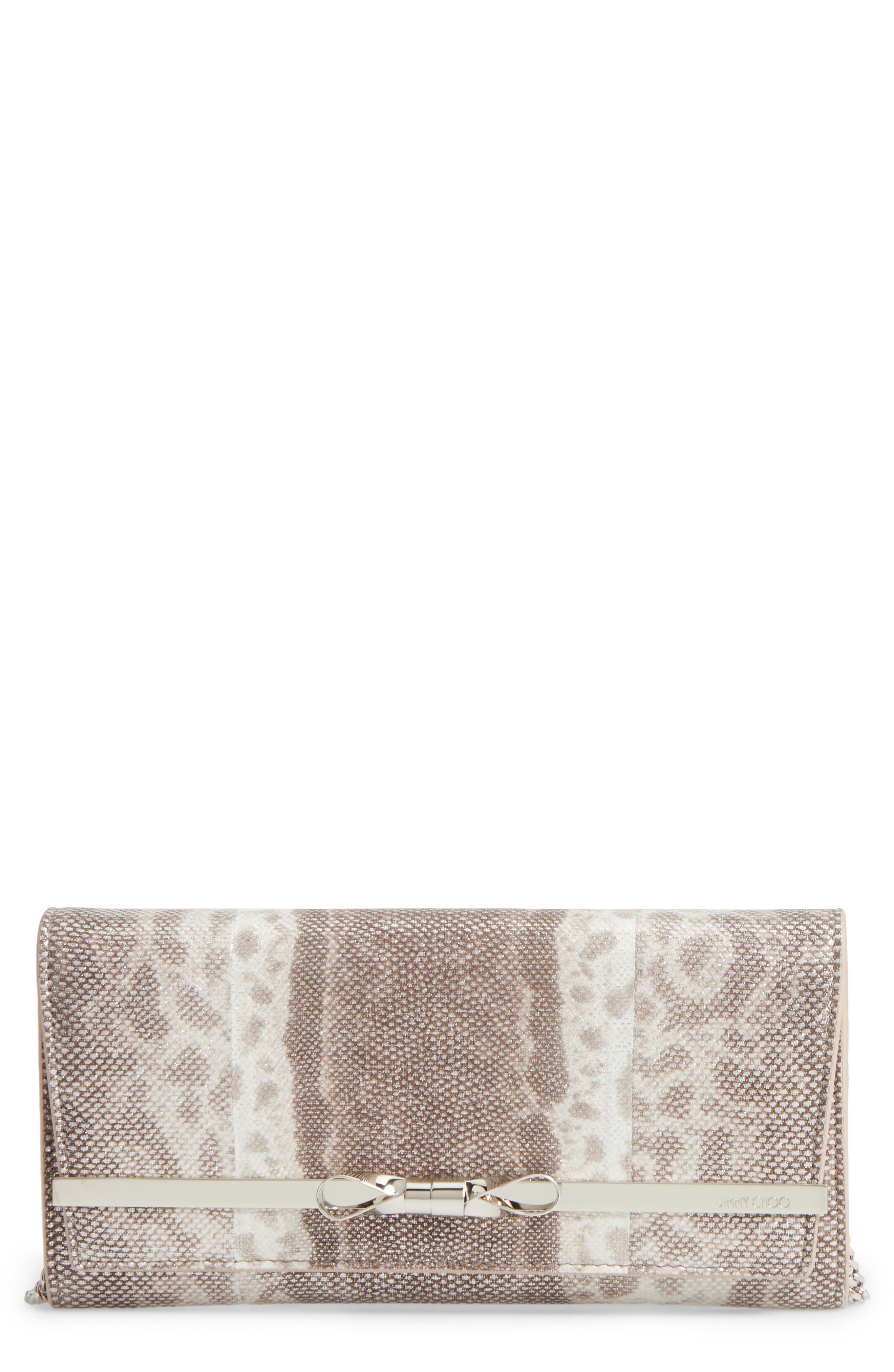 Lydia Genuine Snakeskin Envelope Clutch,                         Main,                         color, Silver