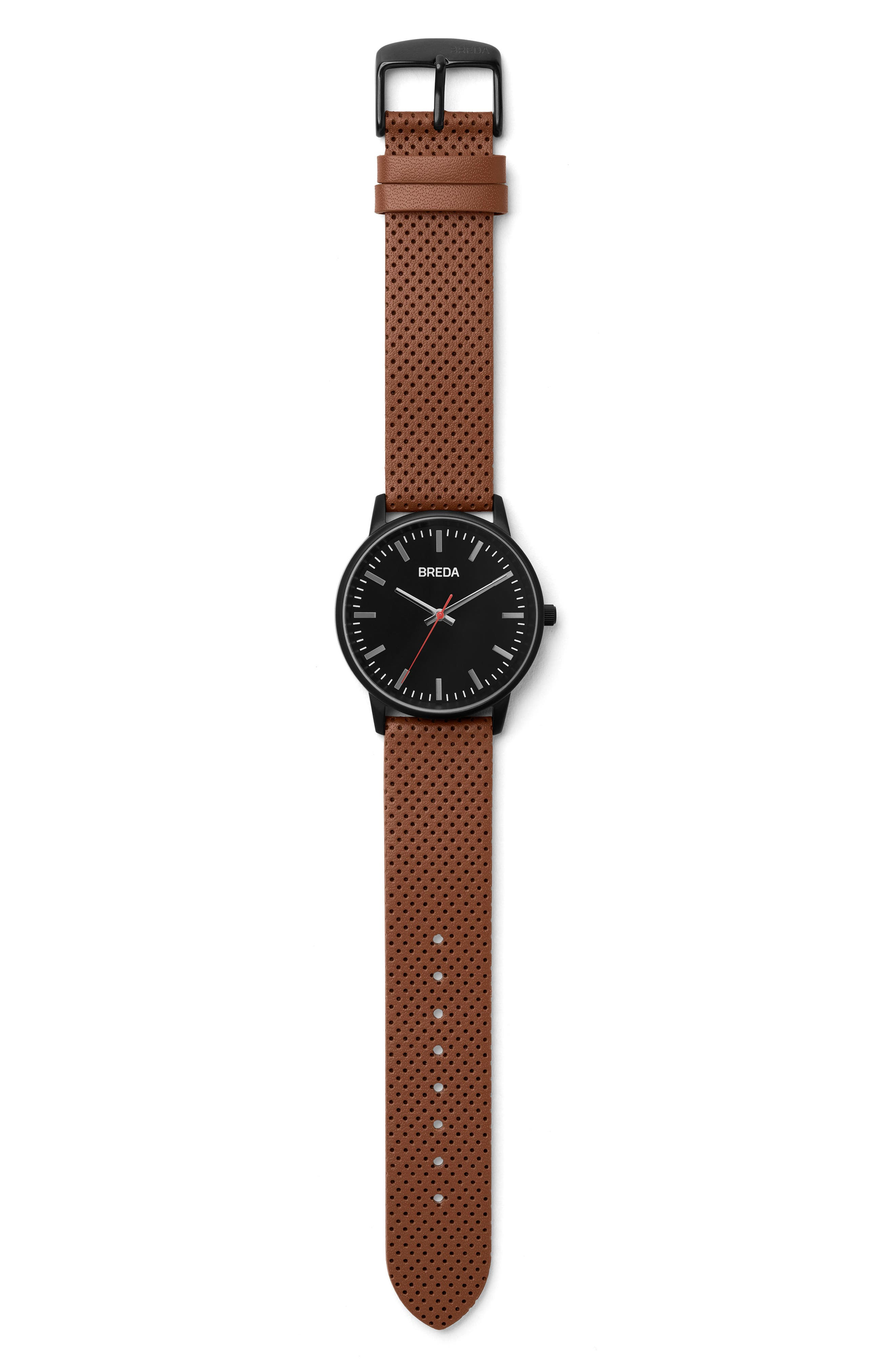Zapf Round Perforated Leather Strap Watch, 39mm,                             Alternate thumbnail 2, color,                             Black/ Brown