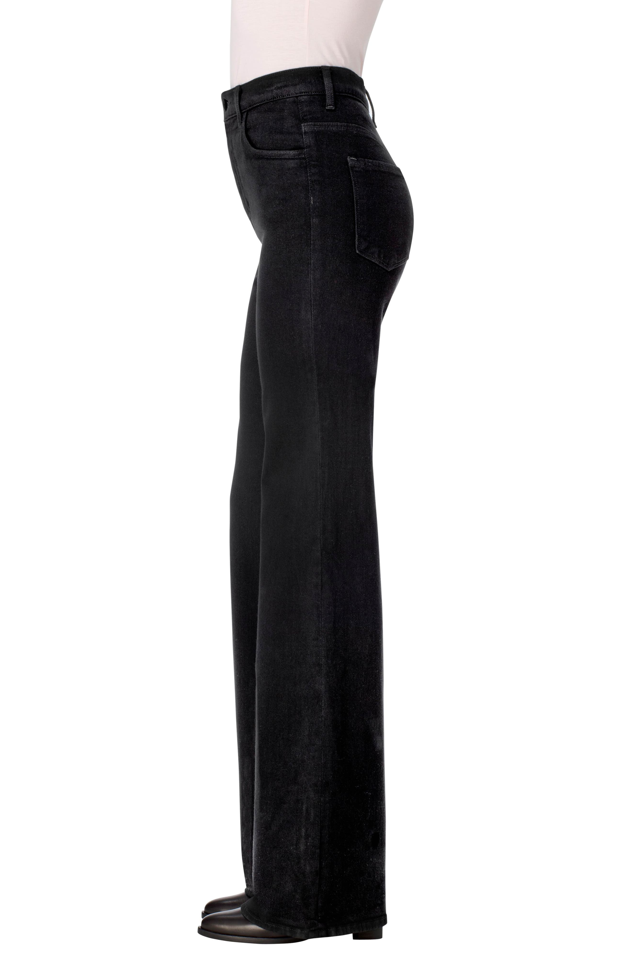 Joan High Waist Wide Leg Jeans,                             Alternate thumbnail 3, color,                             Pitch Black
