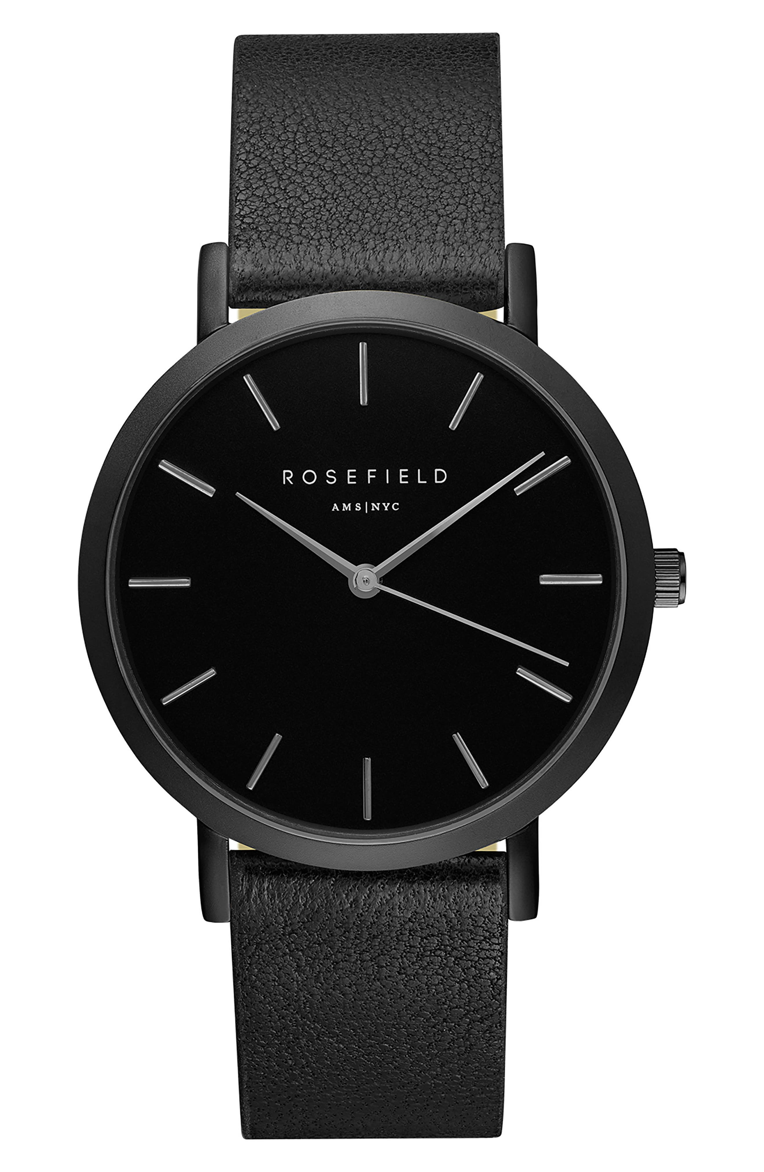 Gramercy Leather Strap Watch, 38mm,                         Main,                         color, Black