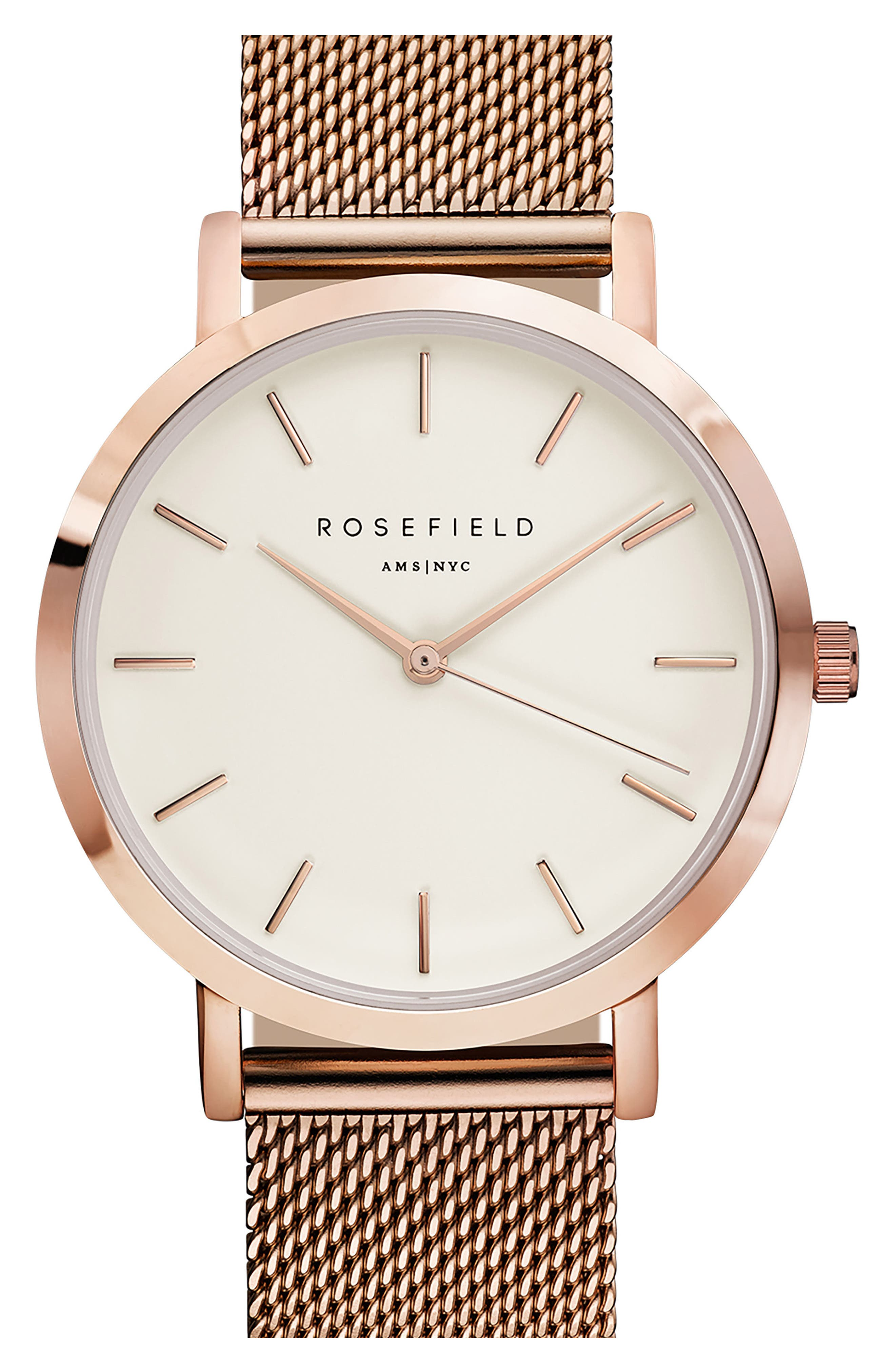 Rosefield Mercer Mesh Strap Watch, 38mm