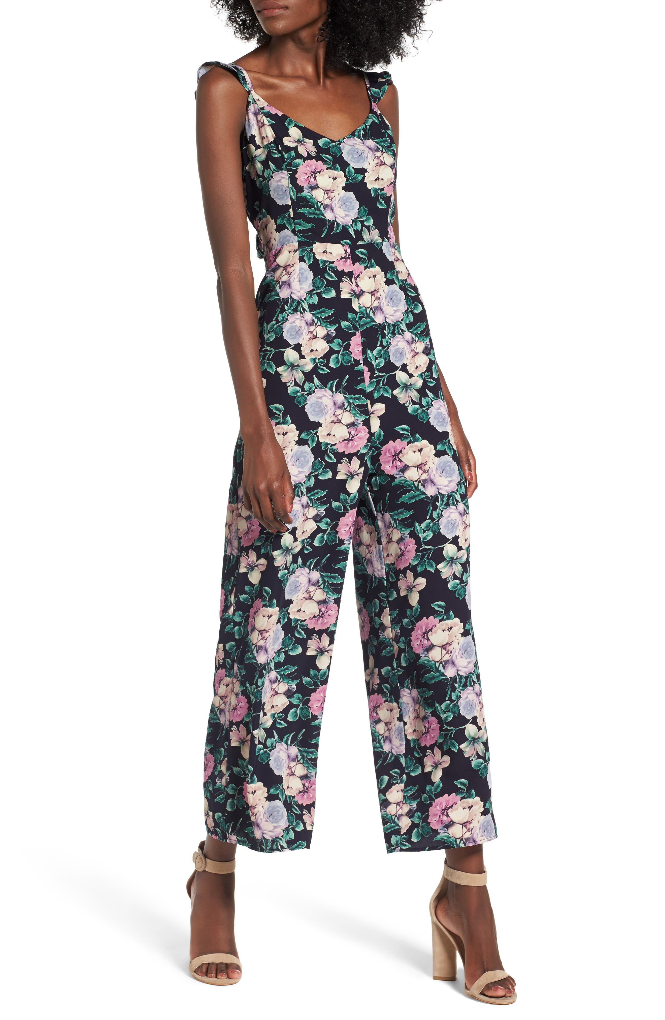Ruffle Strap Jumpsuit,                         Main,                         color, Navy Medieval Pretty Floral