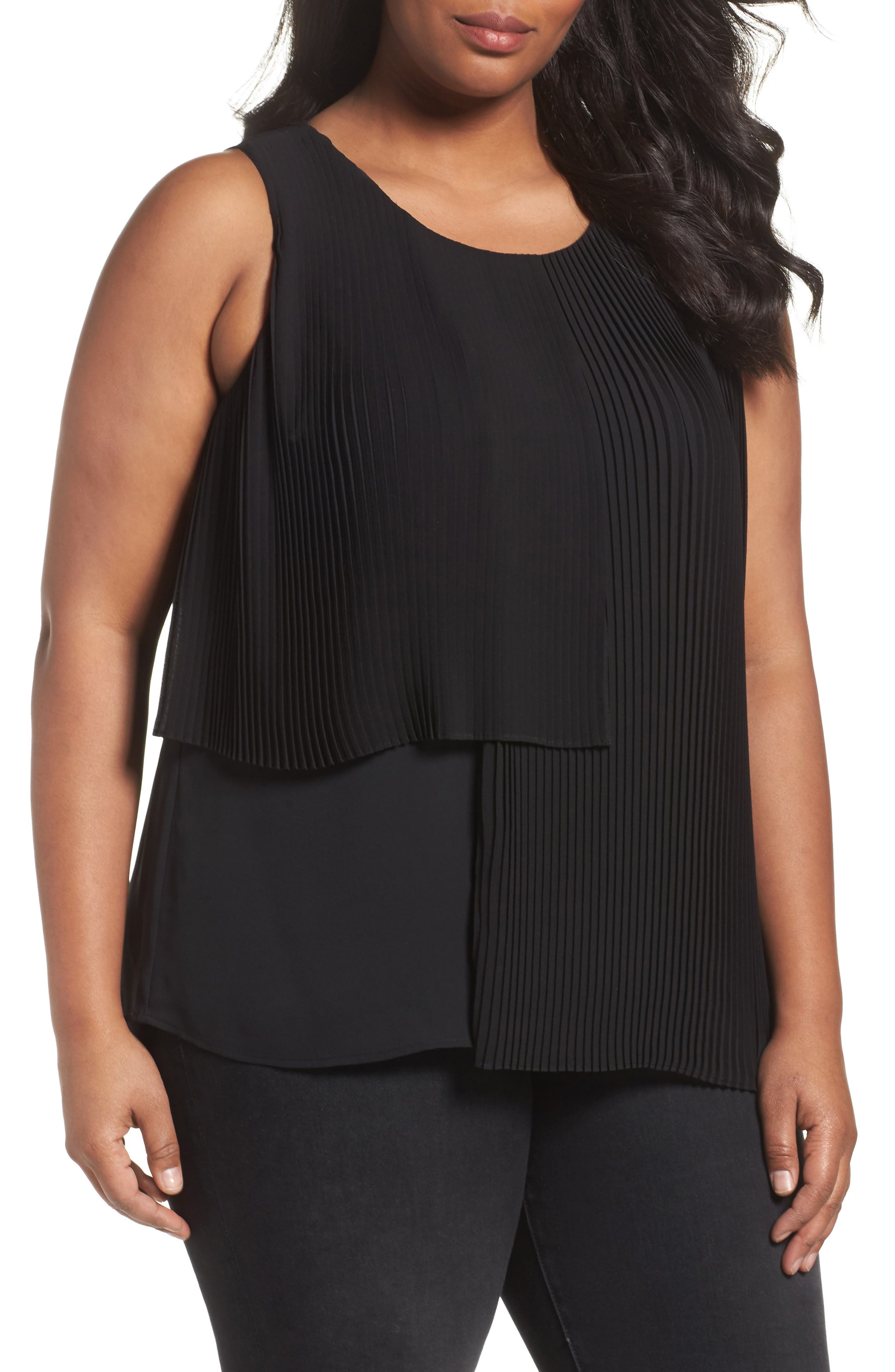 Sejour Asymmetrical Pleat Front Shell (Plus Size)