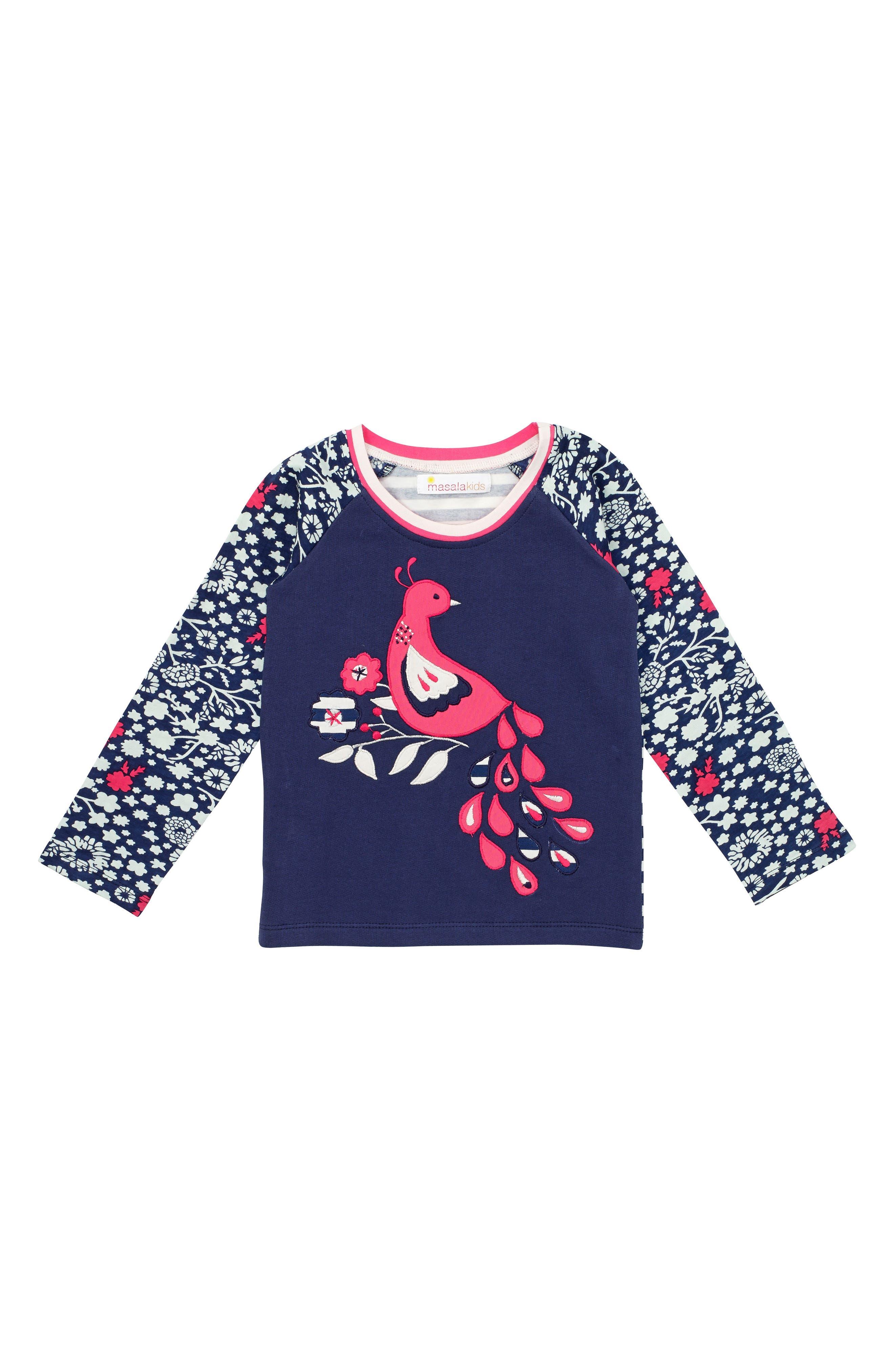 Main Image - Masasla Baby Dancing Peacock Appliqué Top (Toddler Girls, Little Girls & Big Girls)