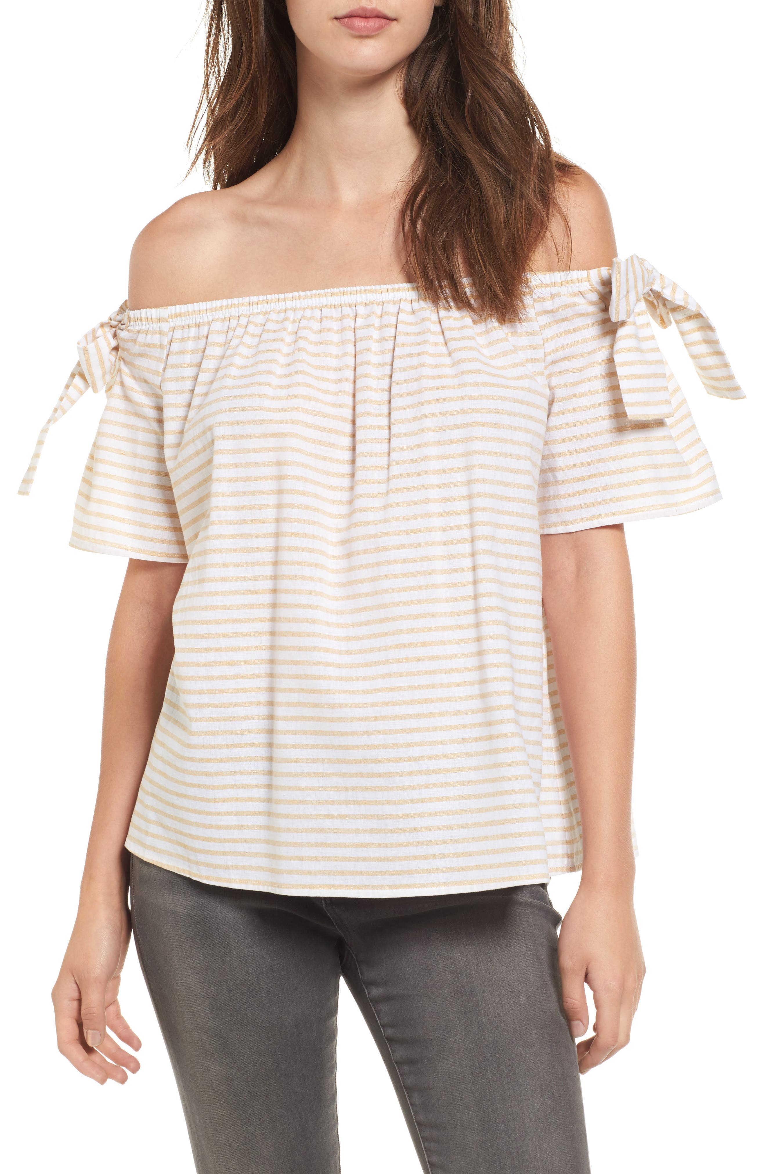 Stripe Cotton & Linen Off the Shoulder Top,                         Main,                         color, Honey Mustard