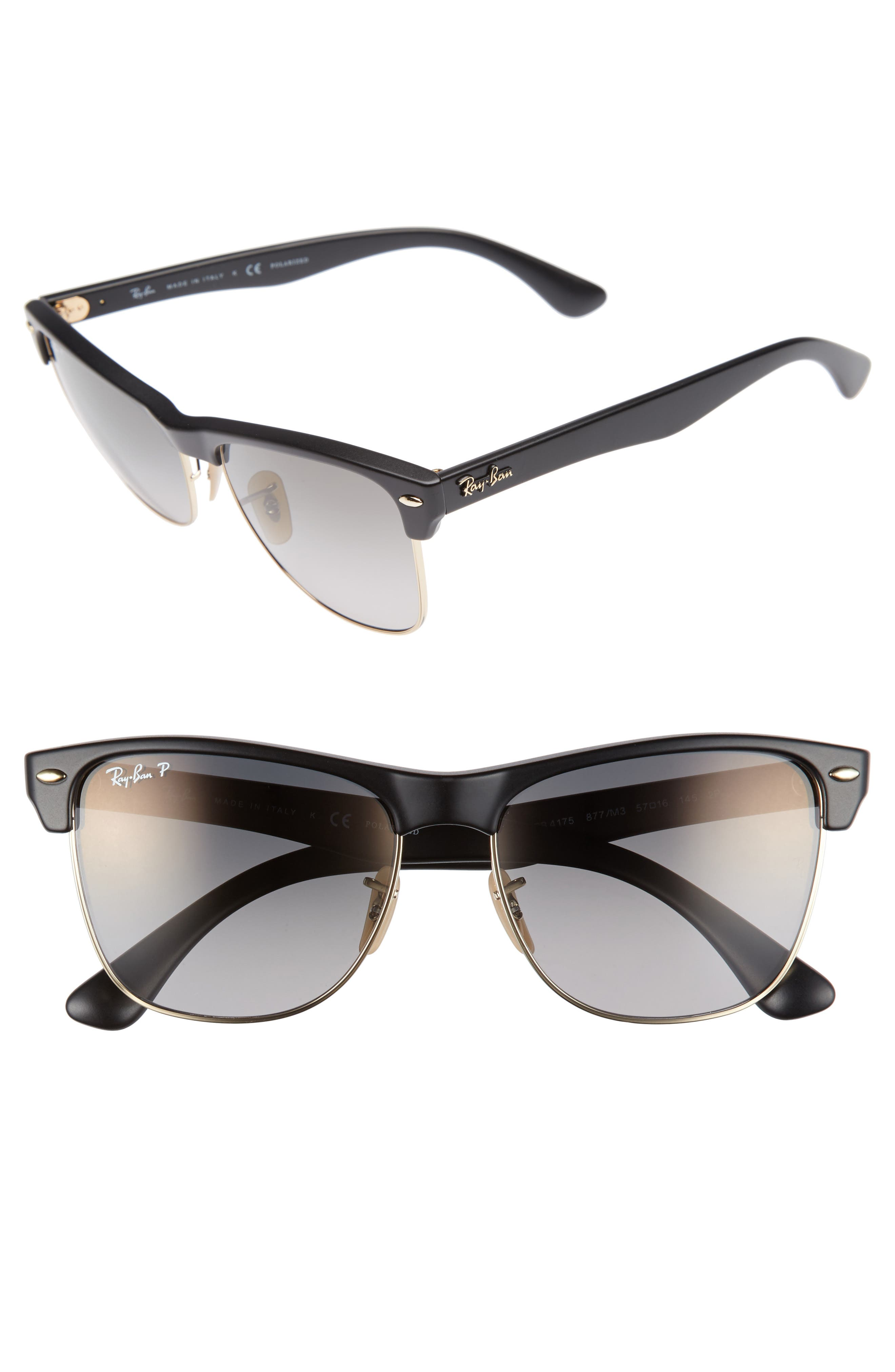 RAY-BAN Clubmaster Flash 57mm Polarized Sunglasses
