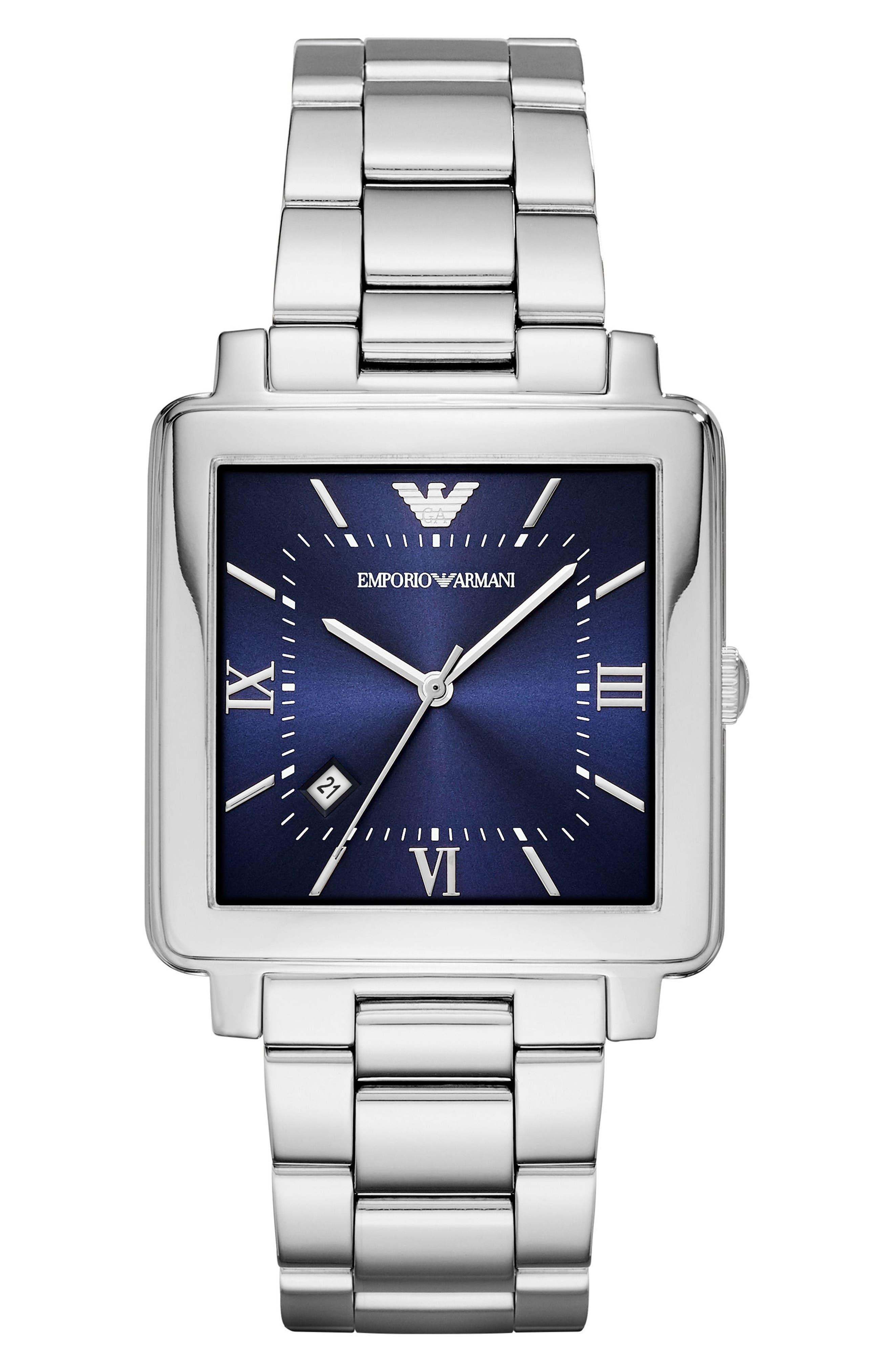 Square Bracelet Watch, 43mm,                         Main,                         color, Blue/ Silver
