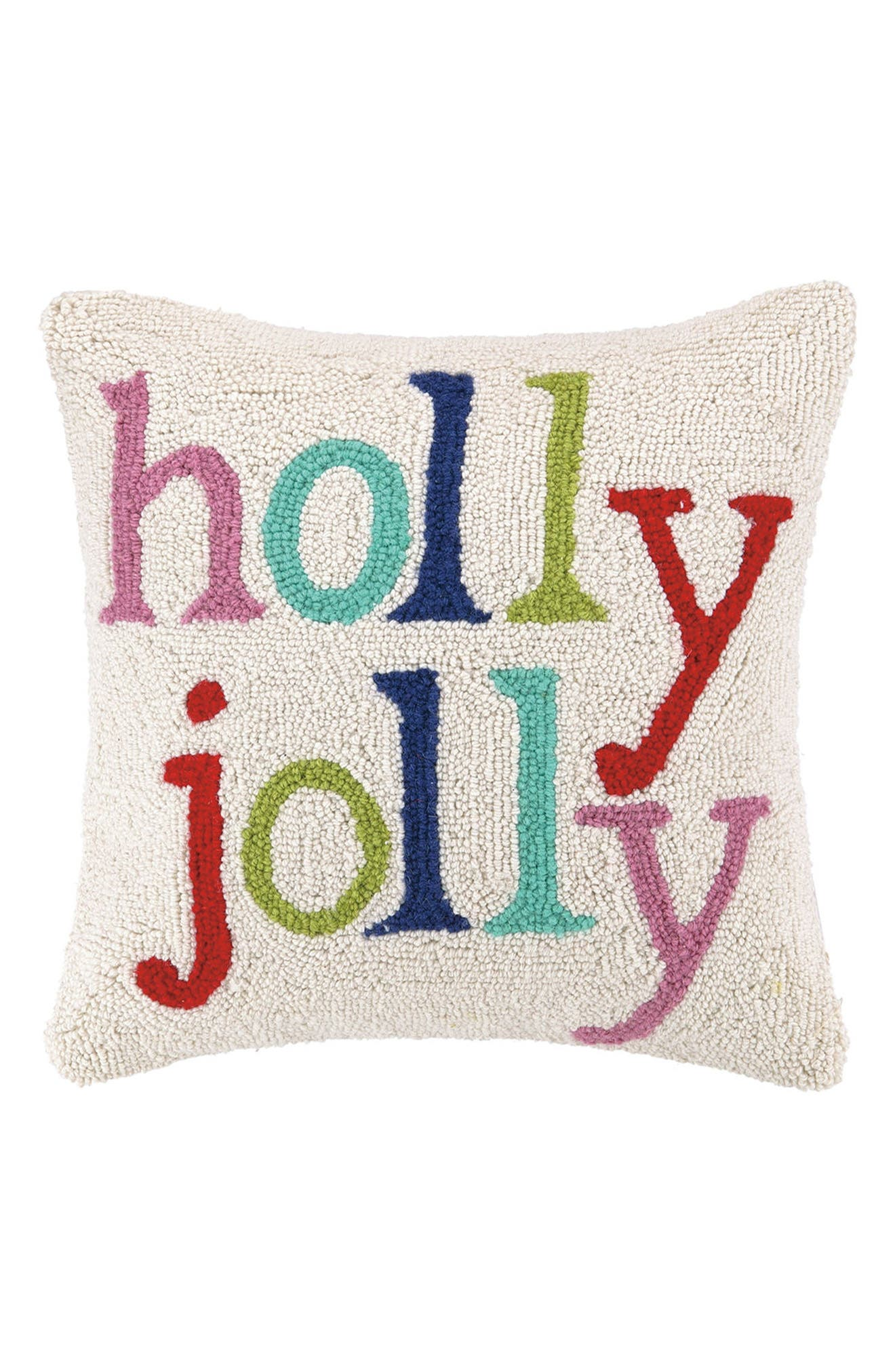 Holly Jolly Hooked Accent Pillow,                         Main,                         color, Ivory