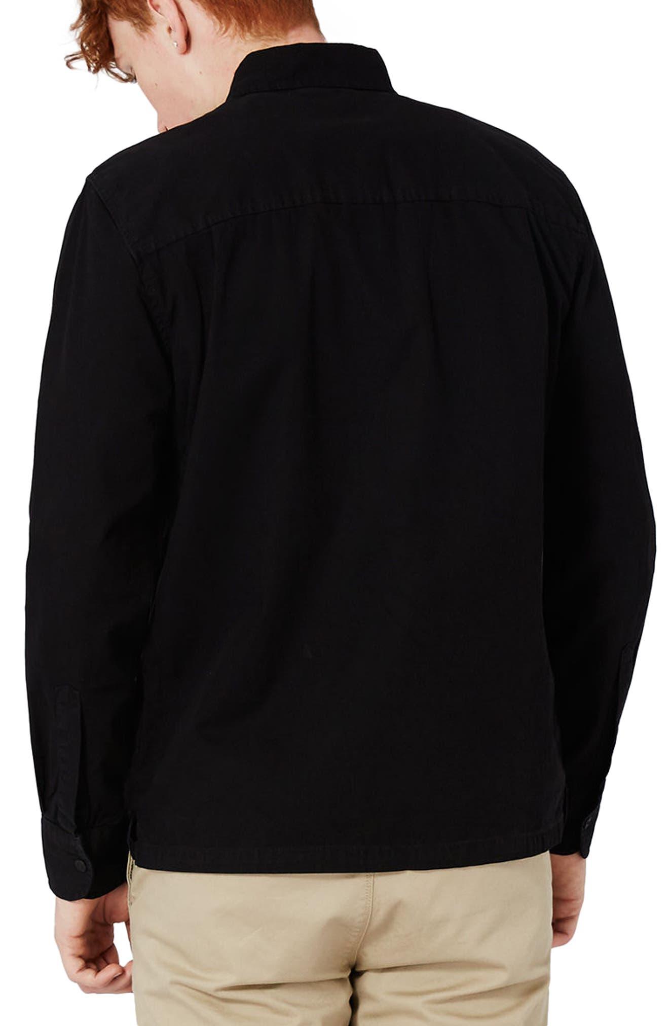 Herringbone Zip Shirt Jacket,                             Alternate thumbnail 3, color,                             Black