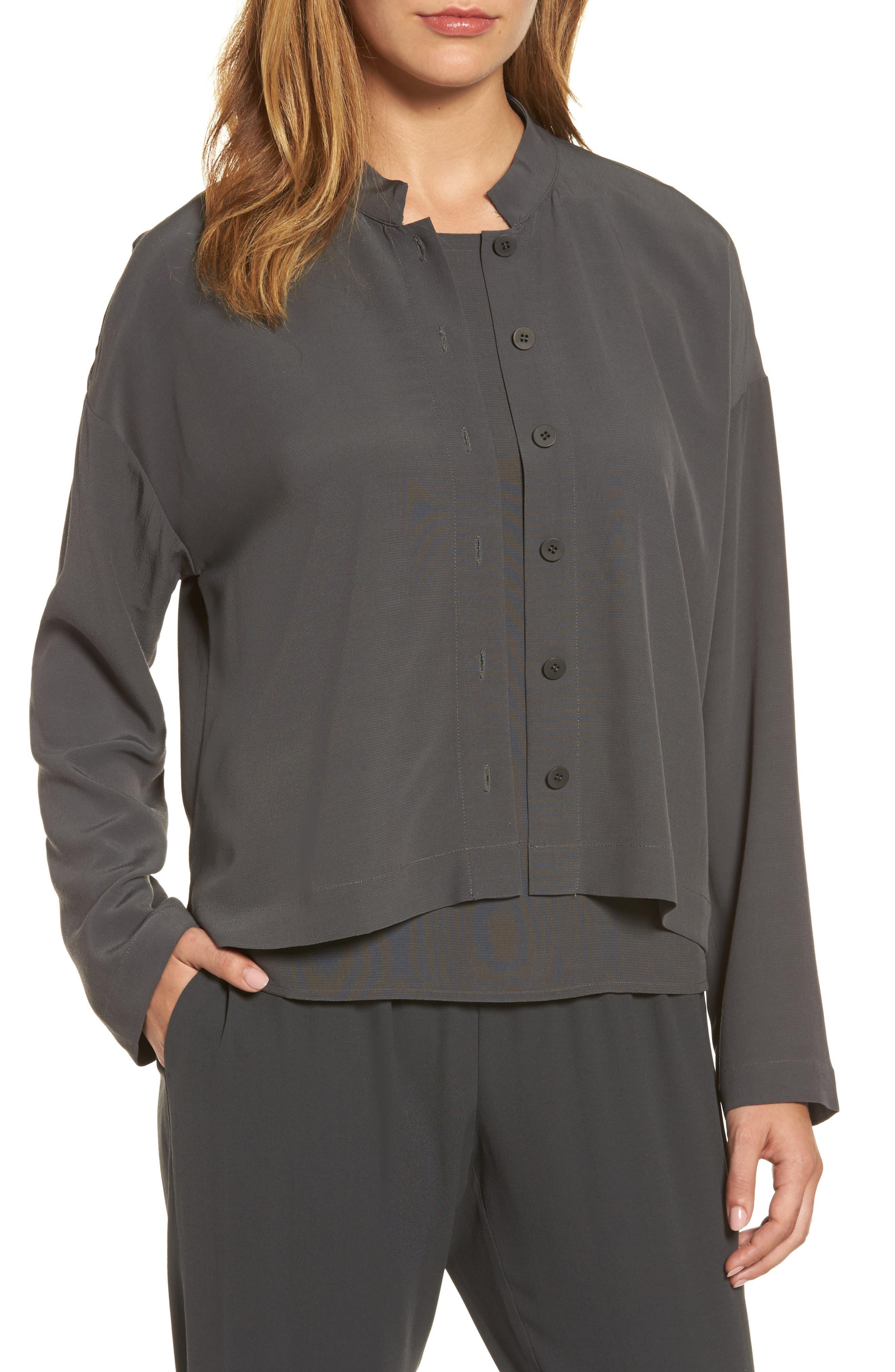 Eileen Fisher Mandarin Collar Boxy Top (Regular & Petite)