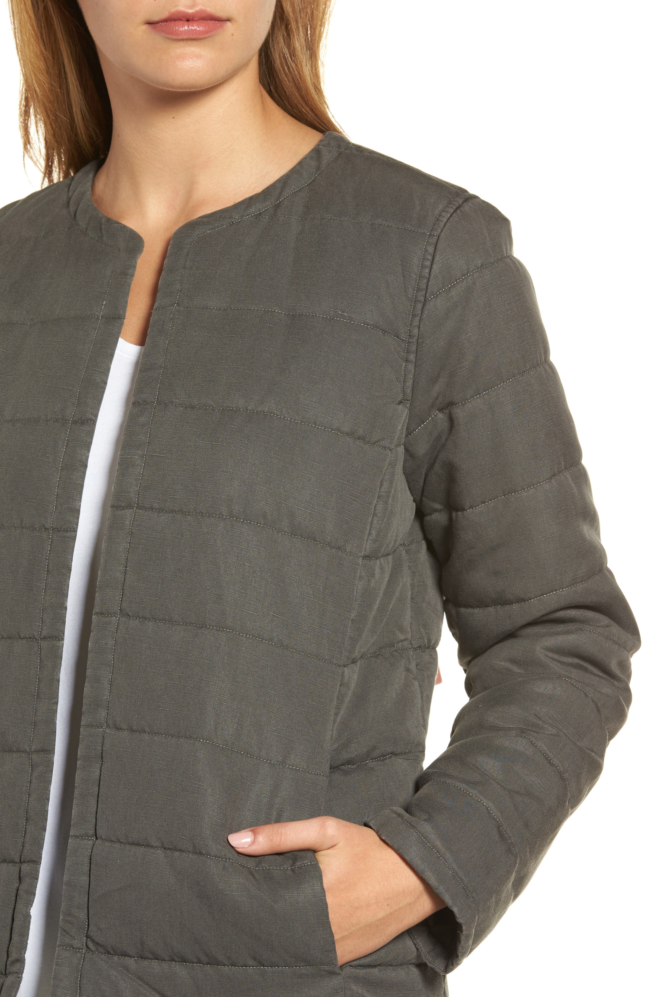 Collarless Quilted Jacket,                             Alternate thumbnail 4, color,                             Bark