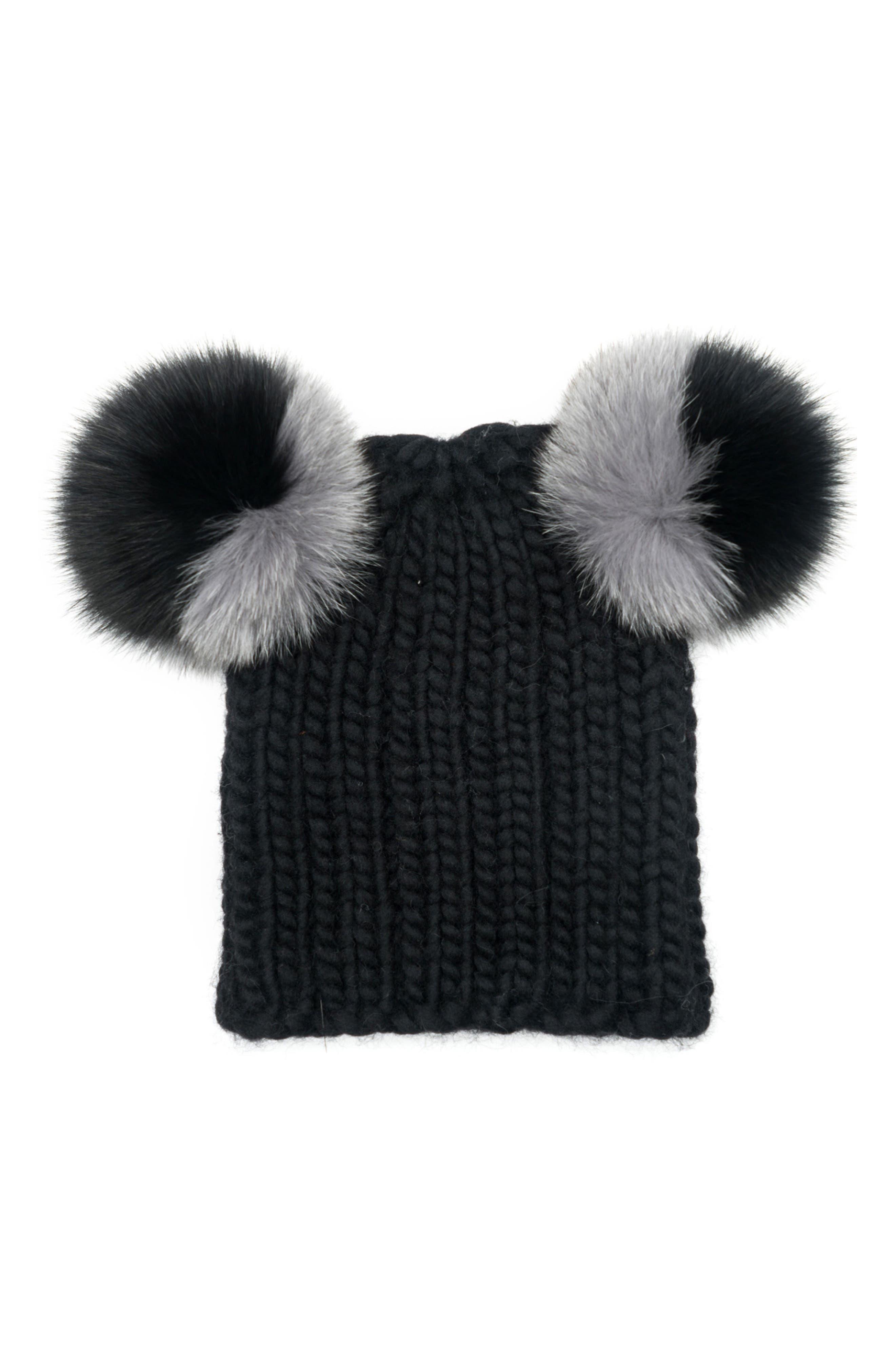 Mimi Beanie with Genuine Fox Fur Pompoms,                         Main,                         color, Black/ Grey